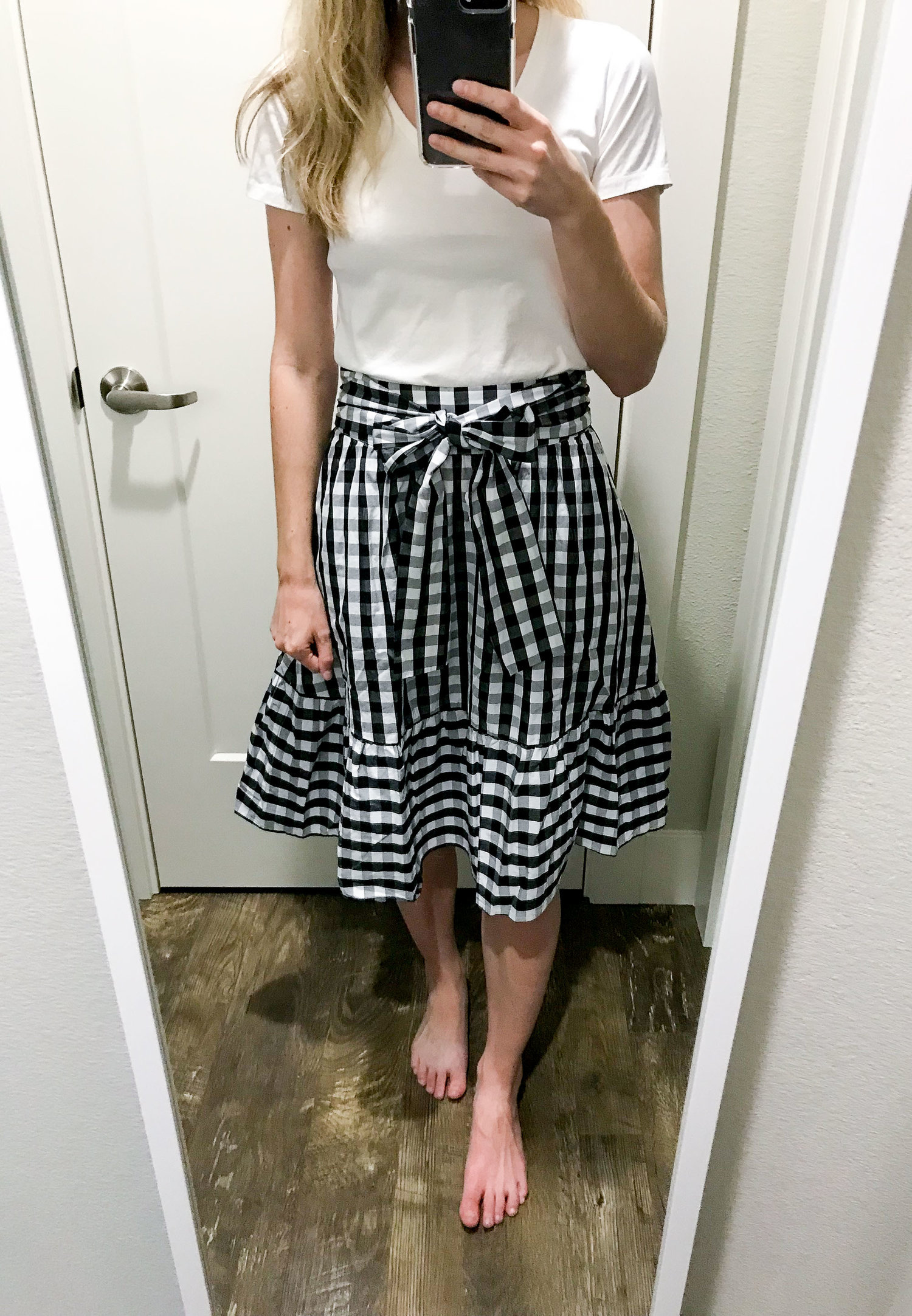 26e81ff432b0 J.Crew Factory tie-waist midi skirt in gingham — Cotton Cashmere Cat Hair