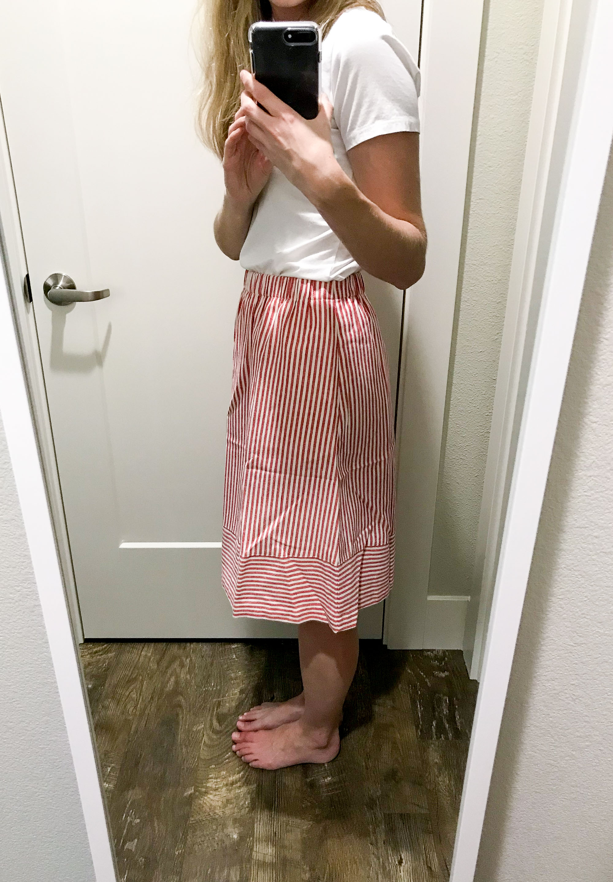 J.Crew Factory striped cotton-linen midi skirt in red stripes — Cotton Cashmere Cat Hair