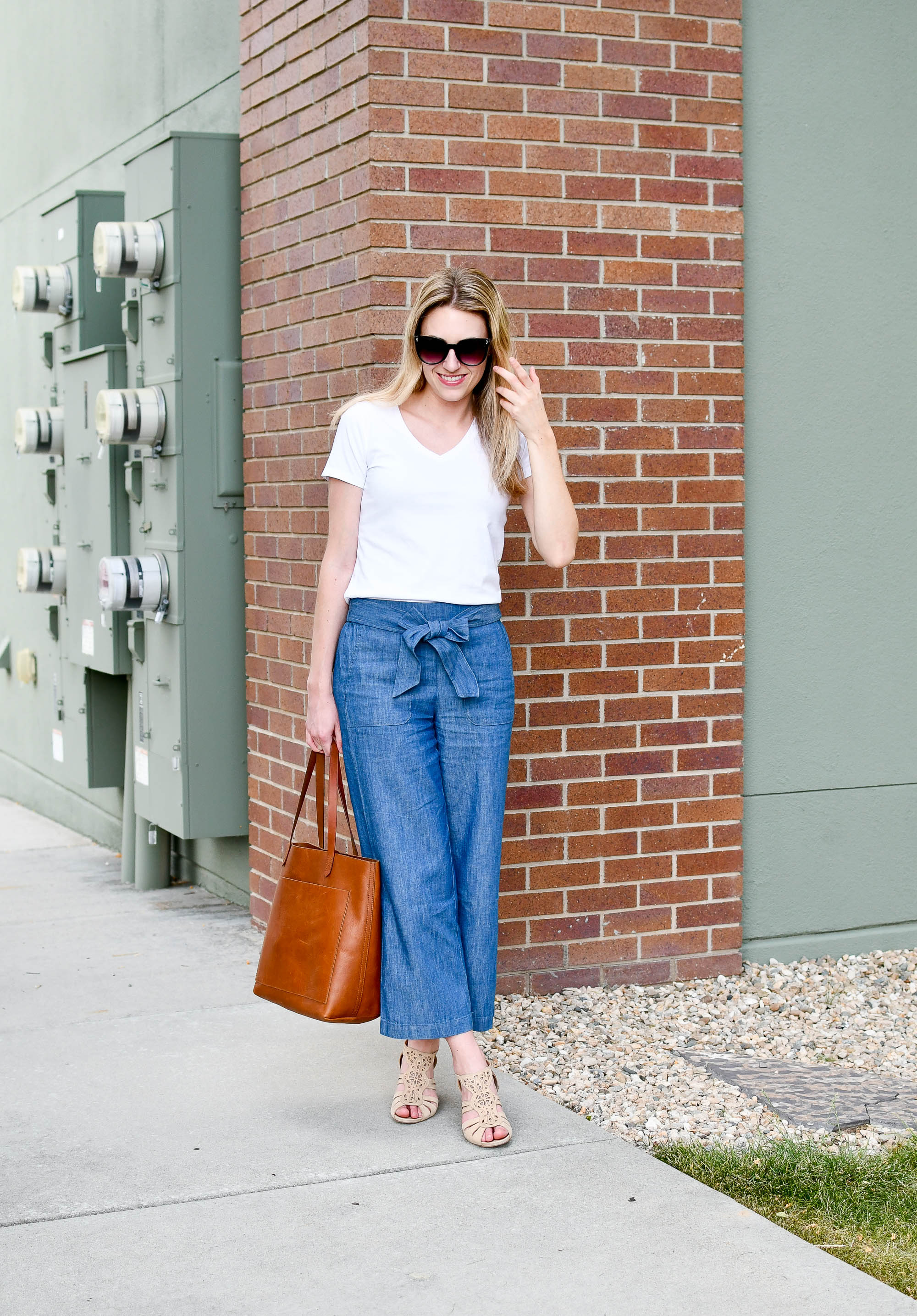 Chambray wide-leg pants spring outfit — Cotton Cashmere Cat Hair