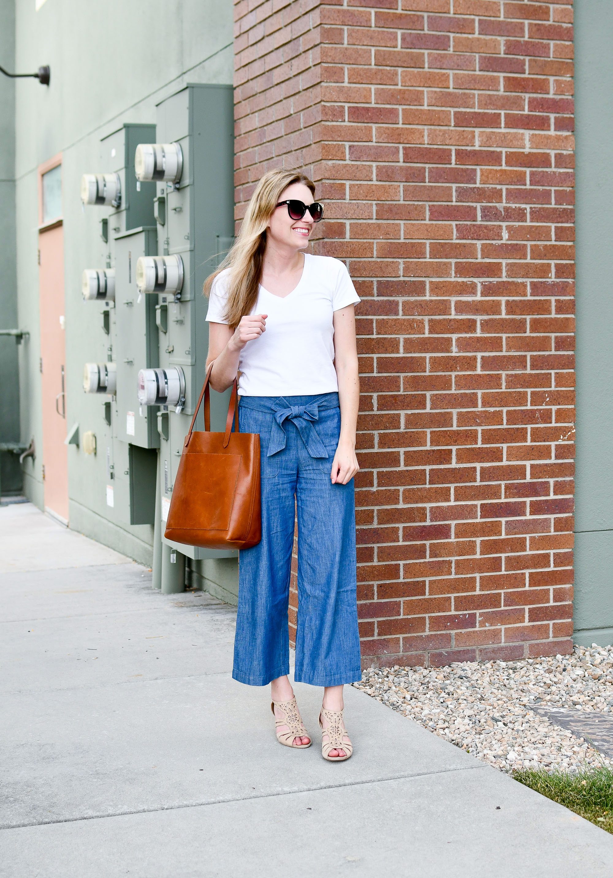 J.Crew Factory tie-waist chambray pants outfit — Cotton Cashmere Cat Hair