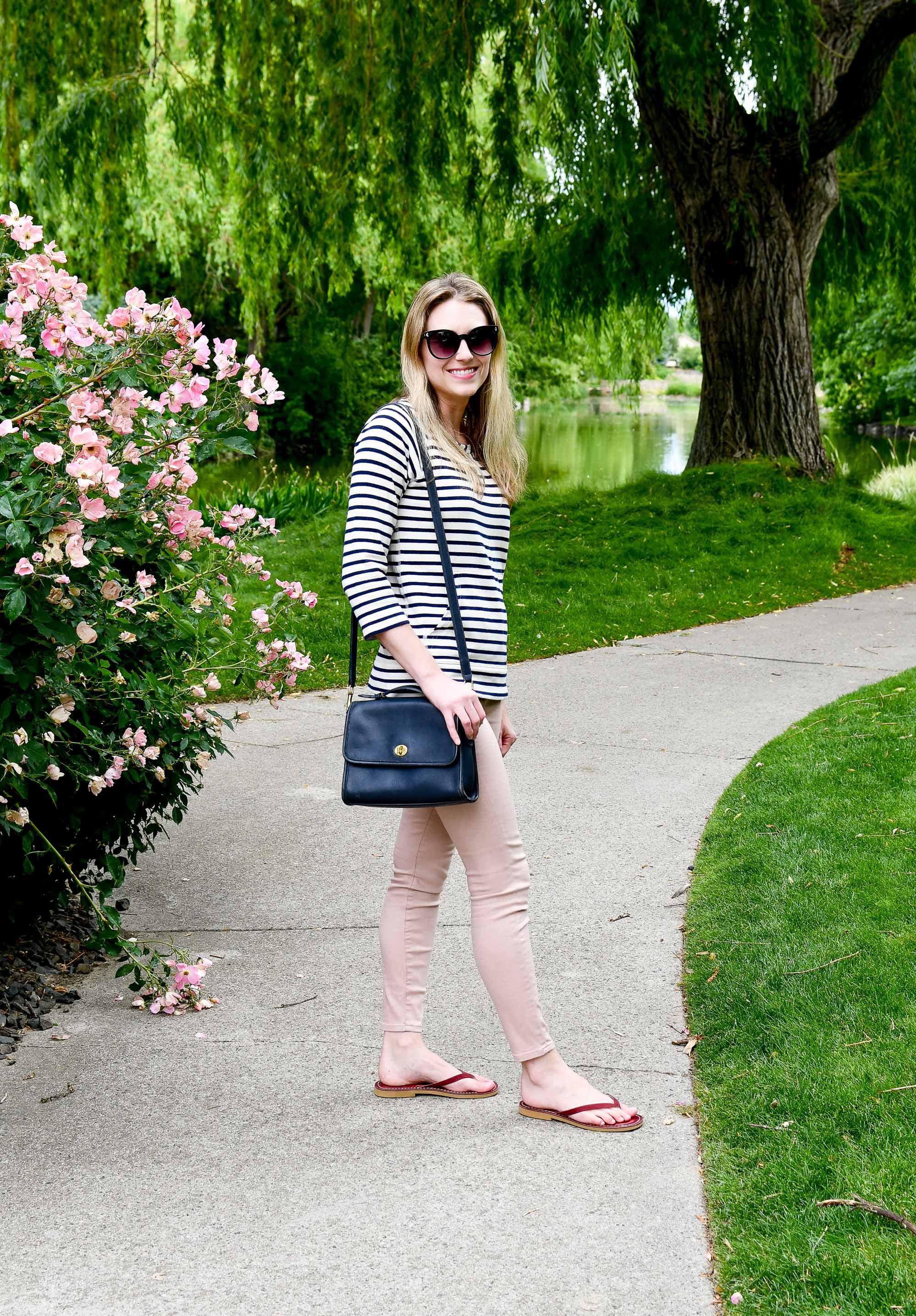 Pink denim summer outfit — Cotton Cashmere Cat Hair
