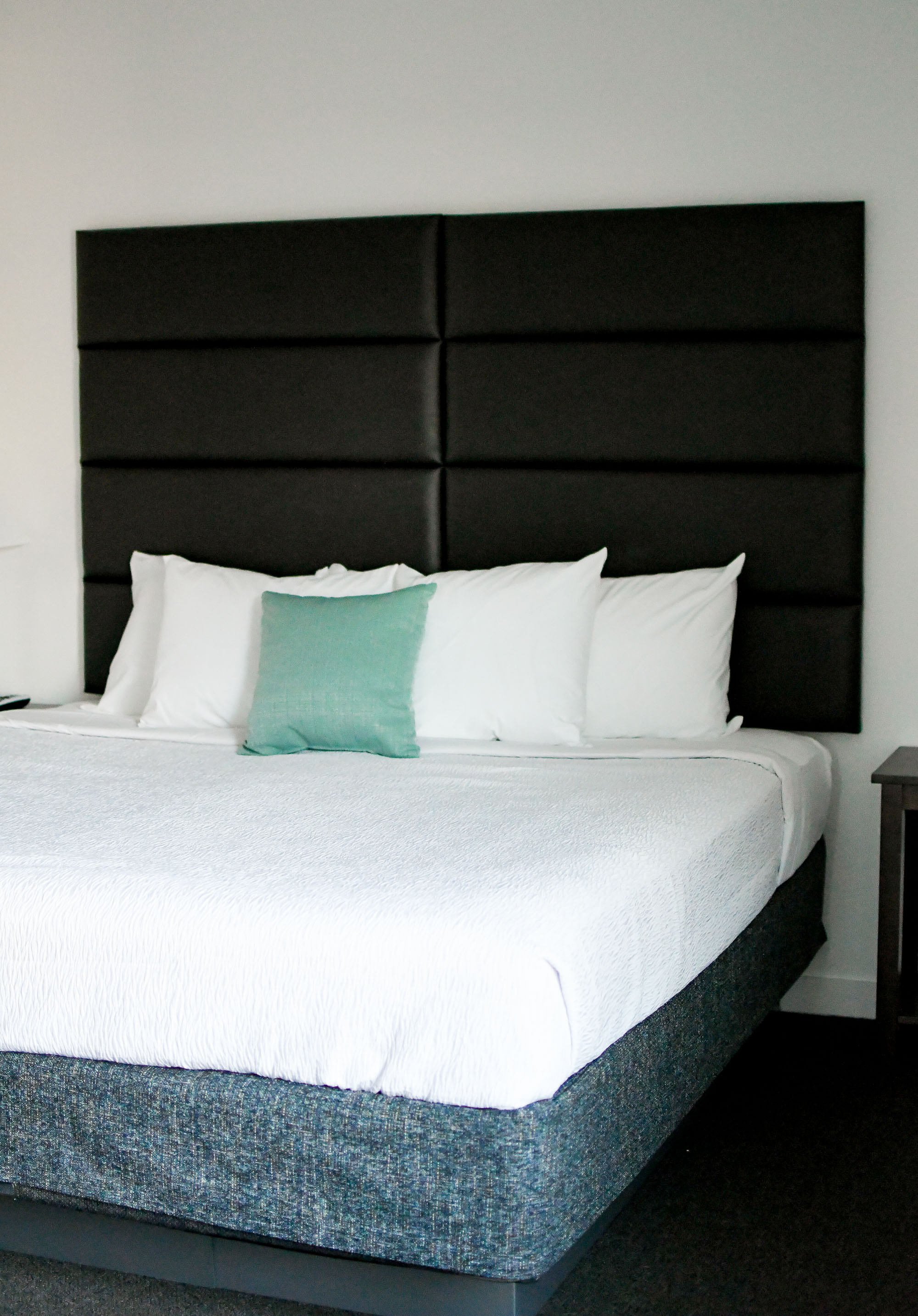 King-sized bed at Stay Alfred at The Fowler, Boise, Idaho — Cotton Cashmere Cat Hair