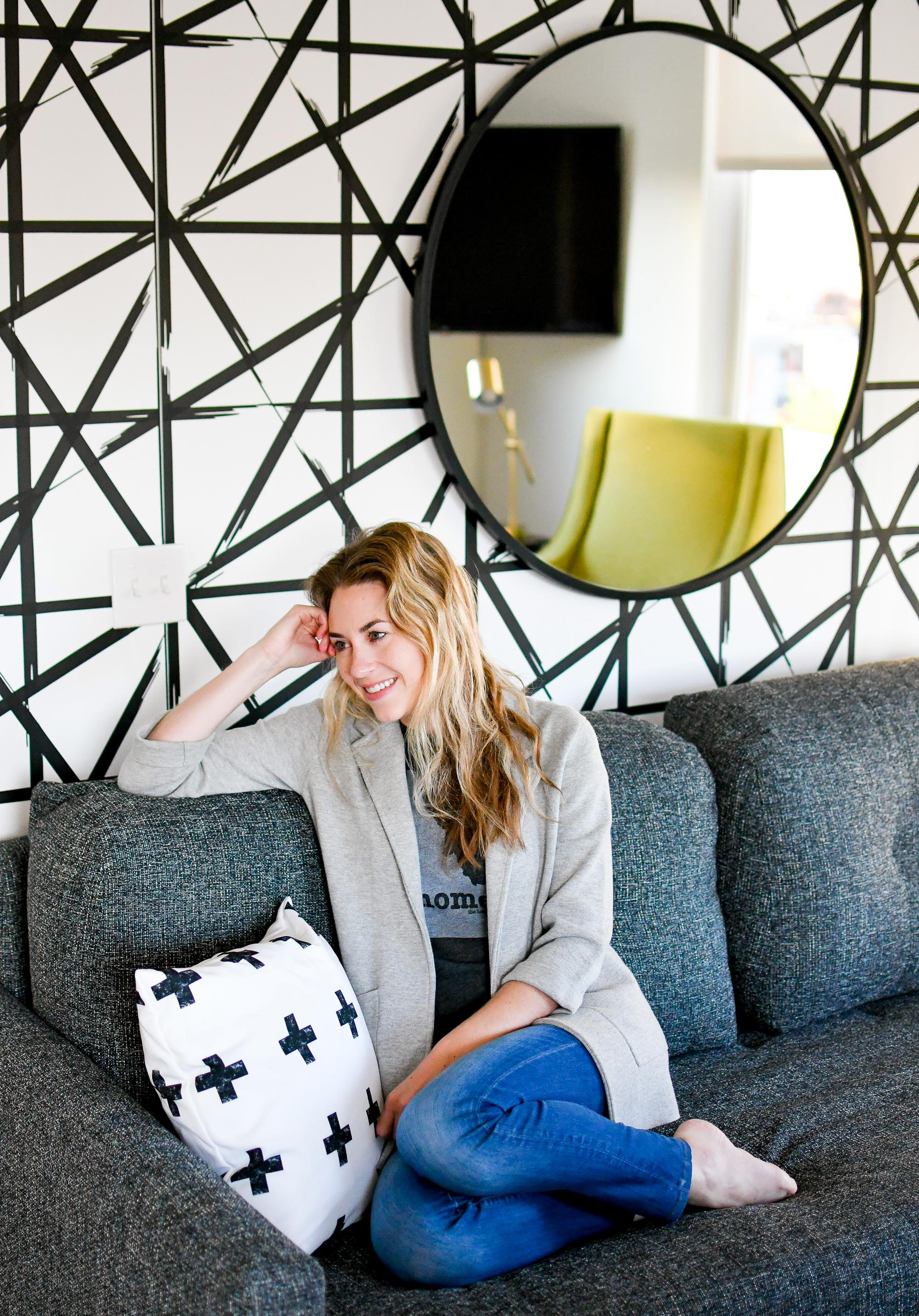 Living space in Stay Alfred at The Fowler, Boise. Idaho — Cotton Cashmere Cat Hair