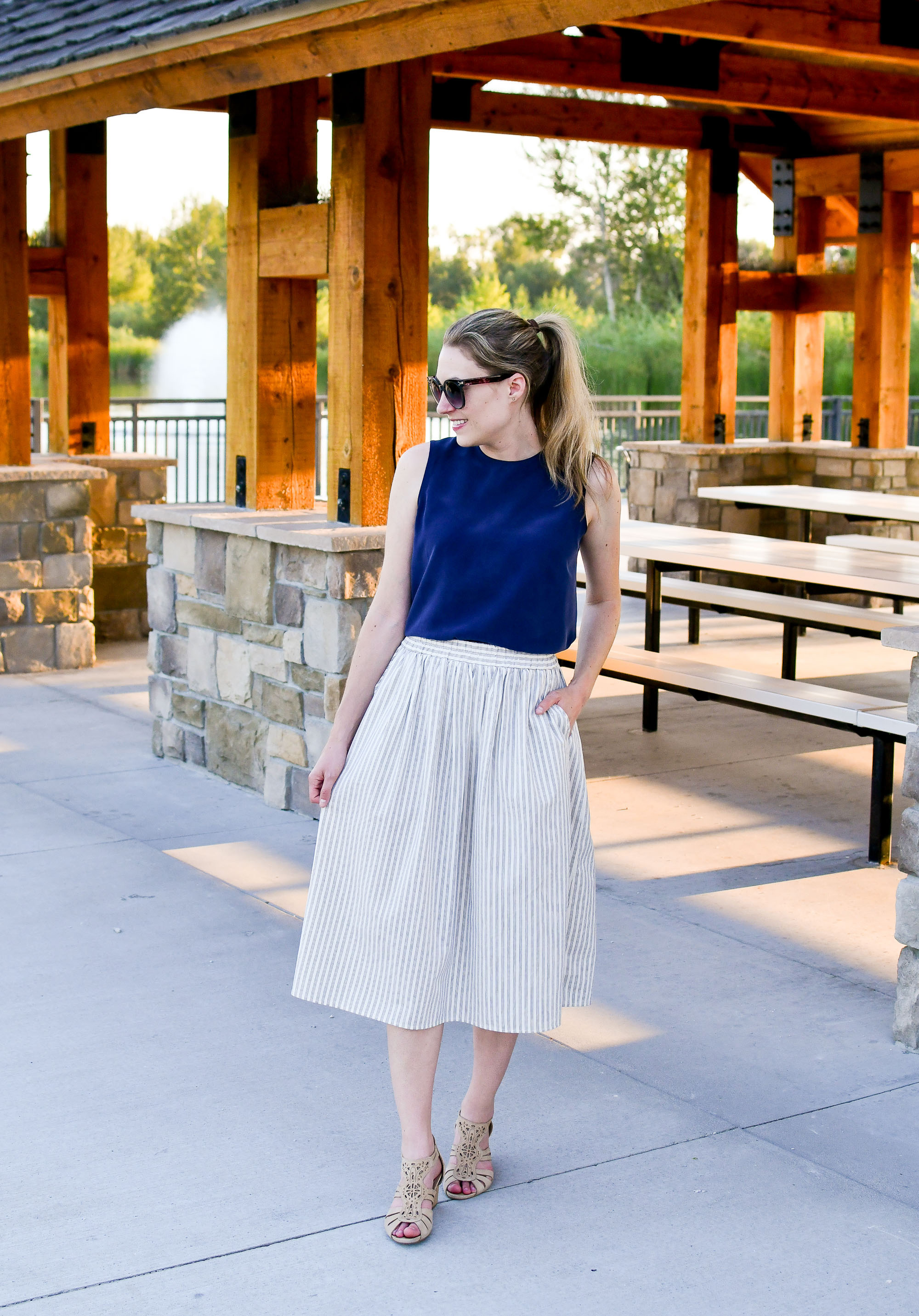 Summer work outfit with navy shell and midi skirt — Cotton Cashmere Cat Hair