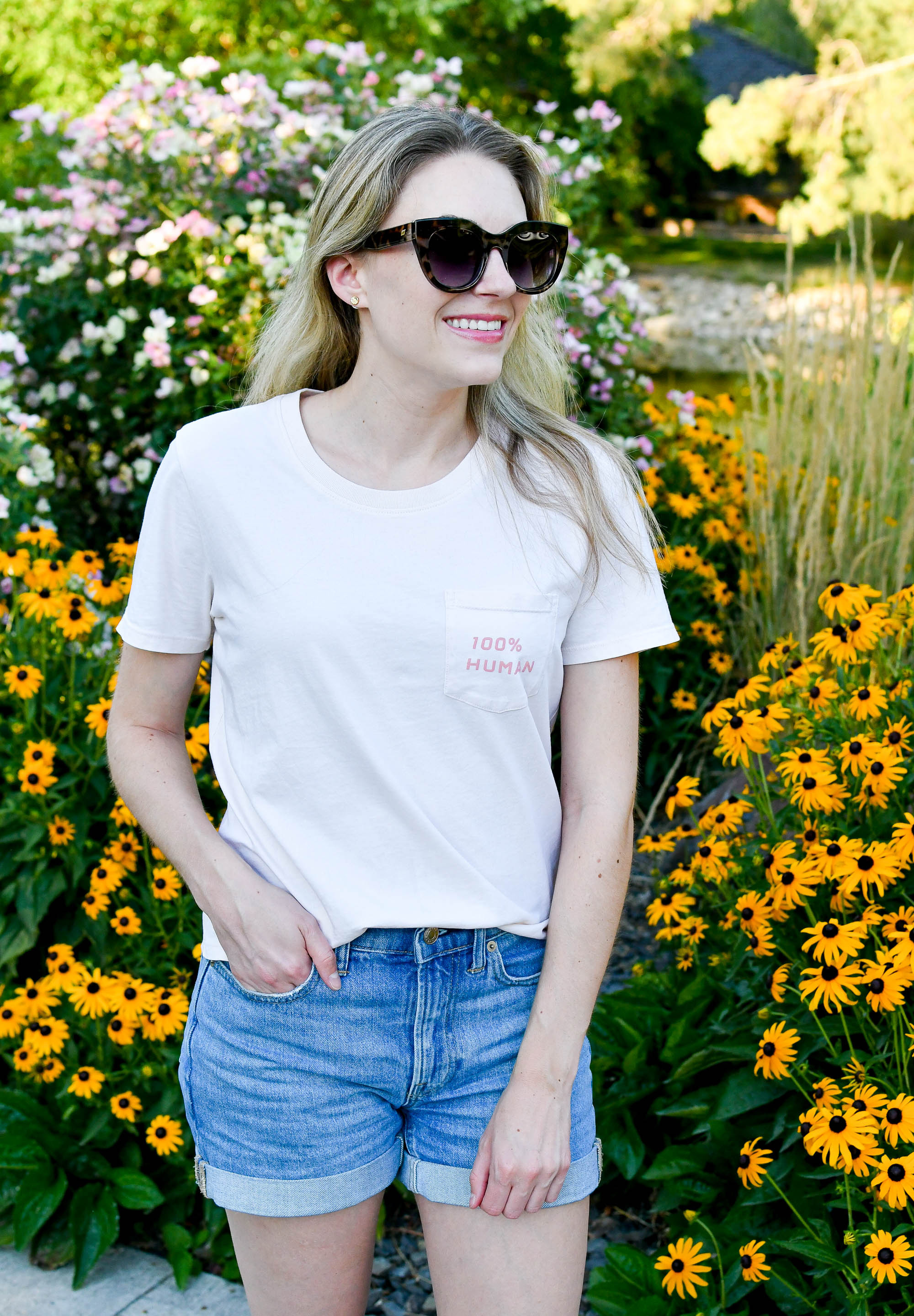 Pink tee outfit with denim shorts — Cotton Cashmere Cat Hair