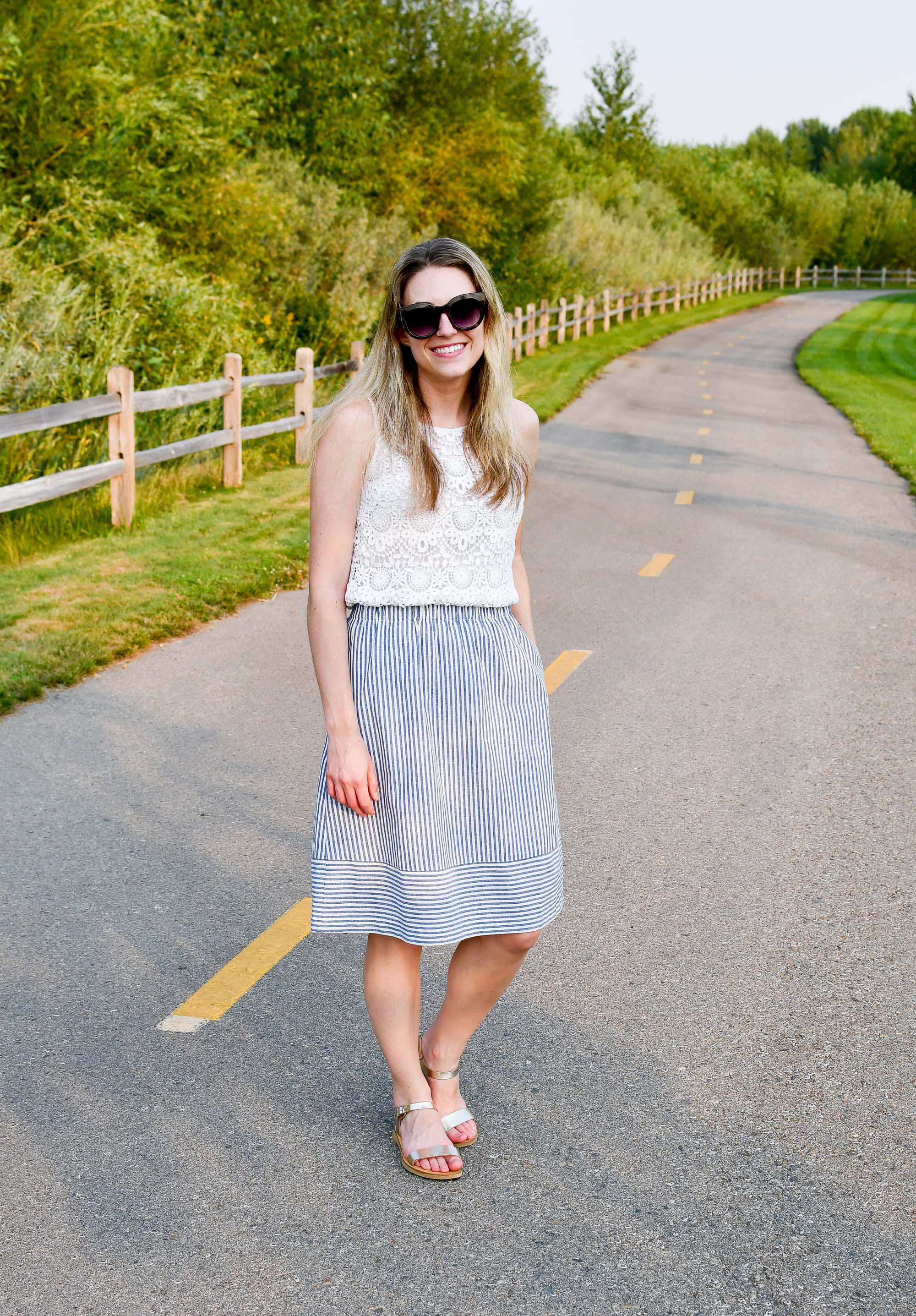 Striped skirt outfit with lace top and gold sandals — Cotton Cashmere Cat Hair