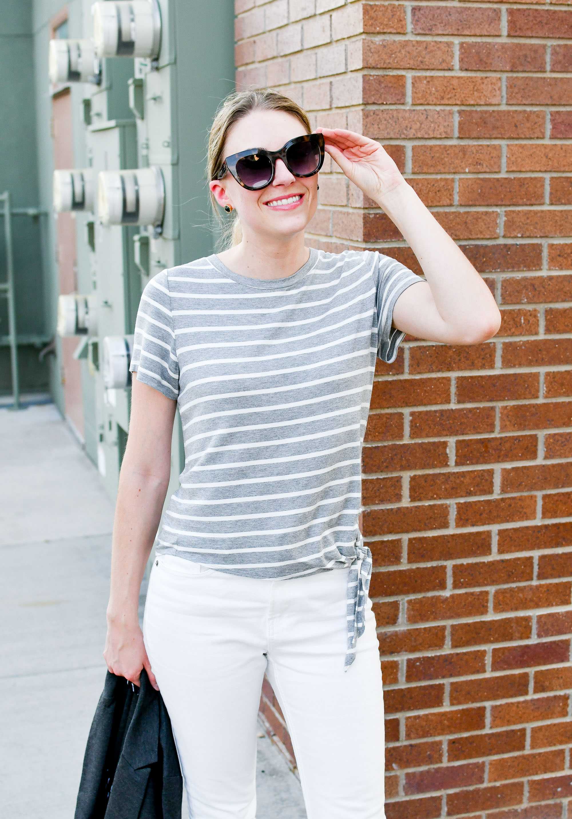 Grey striped side tie tee outfit — Cotton Cashmere Cat Hair