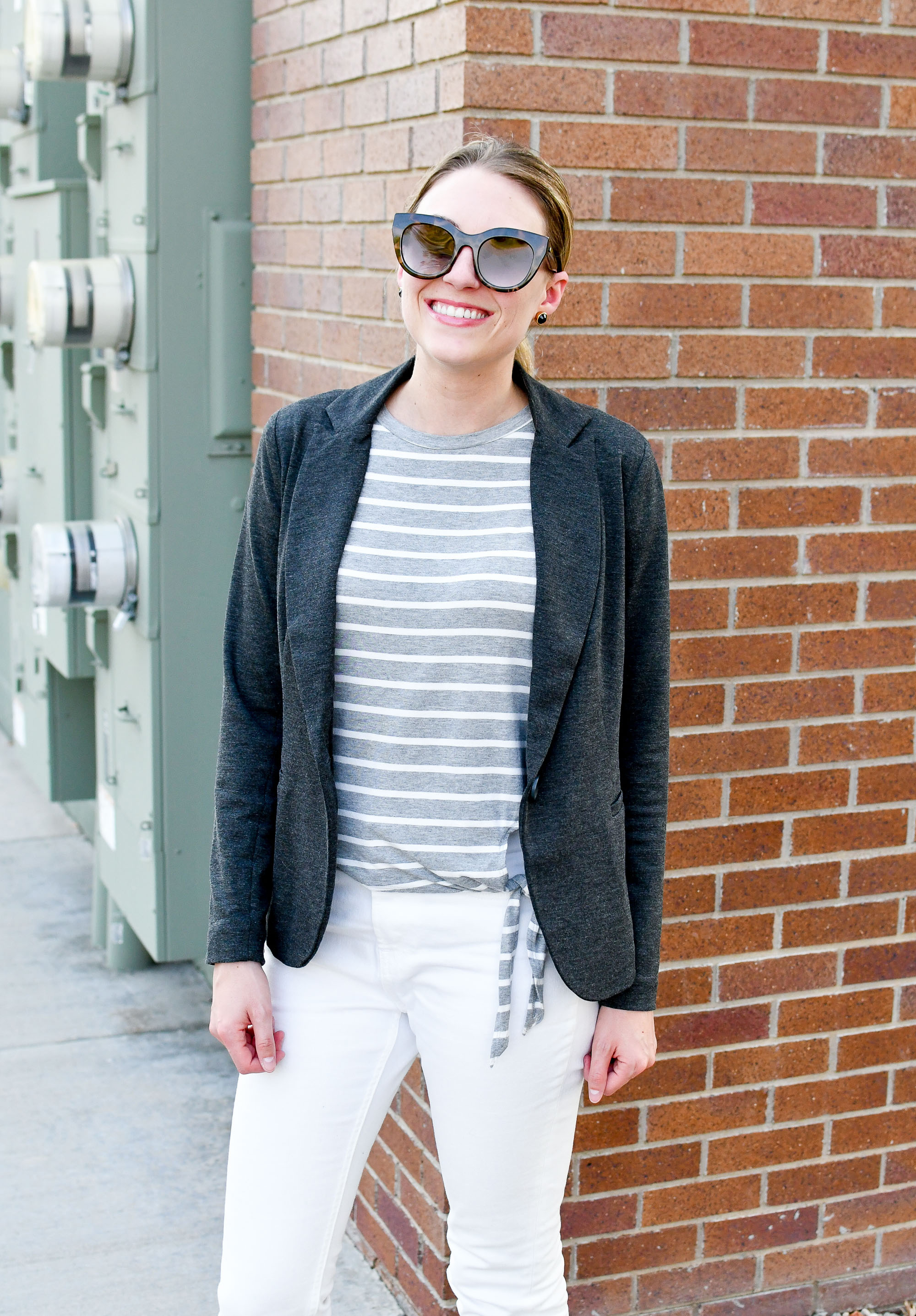 Olivia Moon grey blazer work outfit — Cotton Cashmere Cat Hair