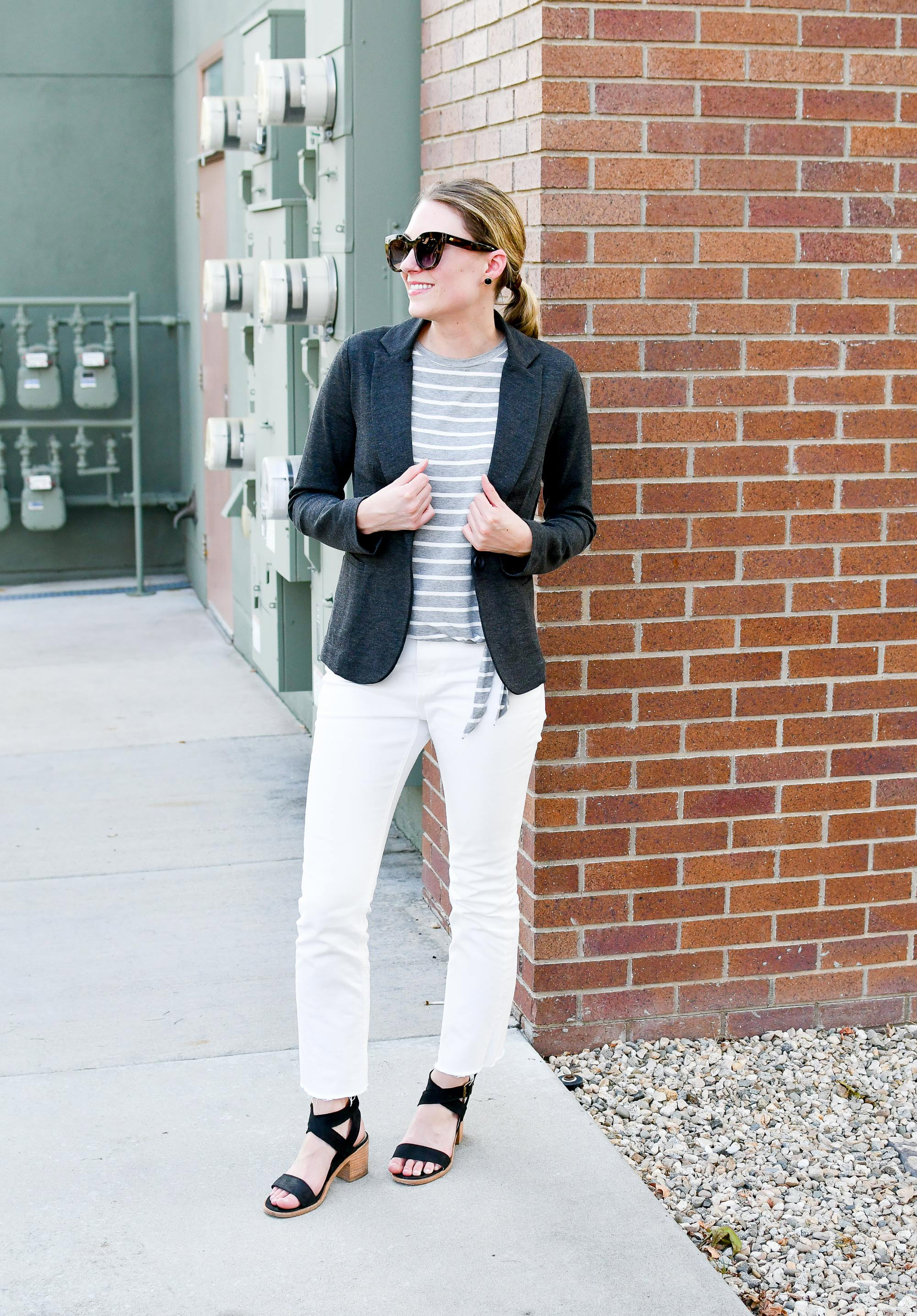 Summer work outfit with grey blazer and side-tie tee — Cotton Cashmere Cat Hair