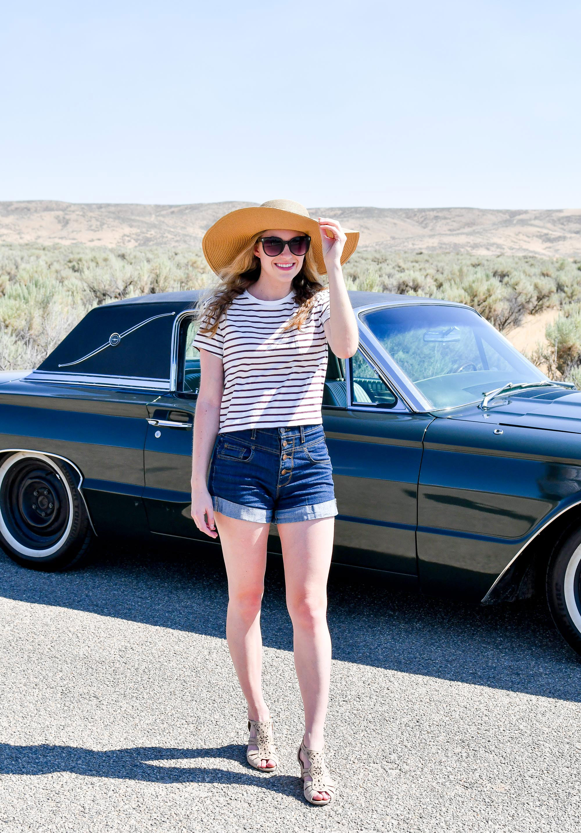 High rise shorts summer outfit — Cotton Cashmere Cat Hair