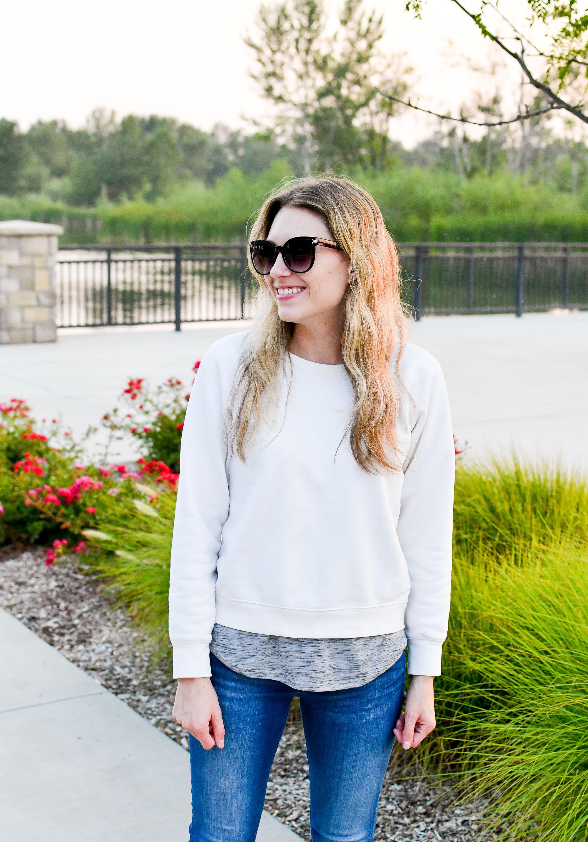 Everlane slim classic French terry crewneck sweatshirt — Cotton Cashmere Cat Hair