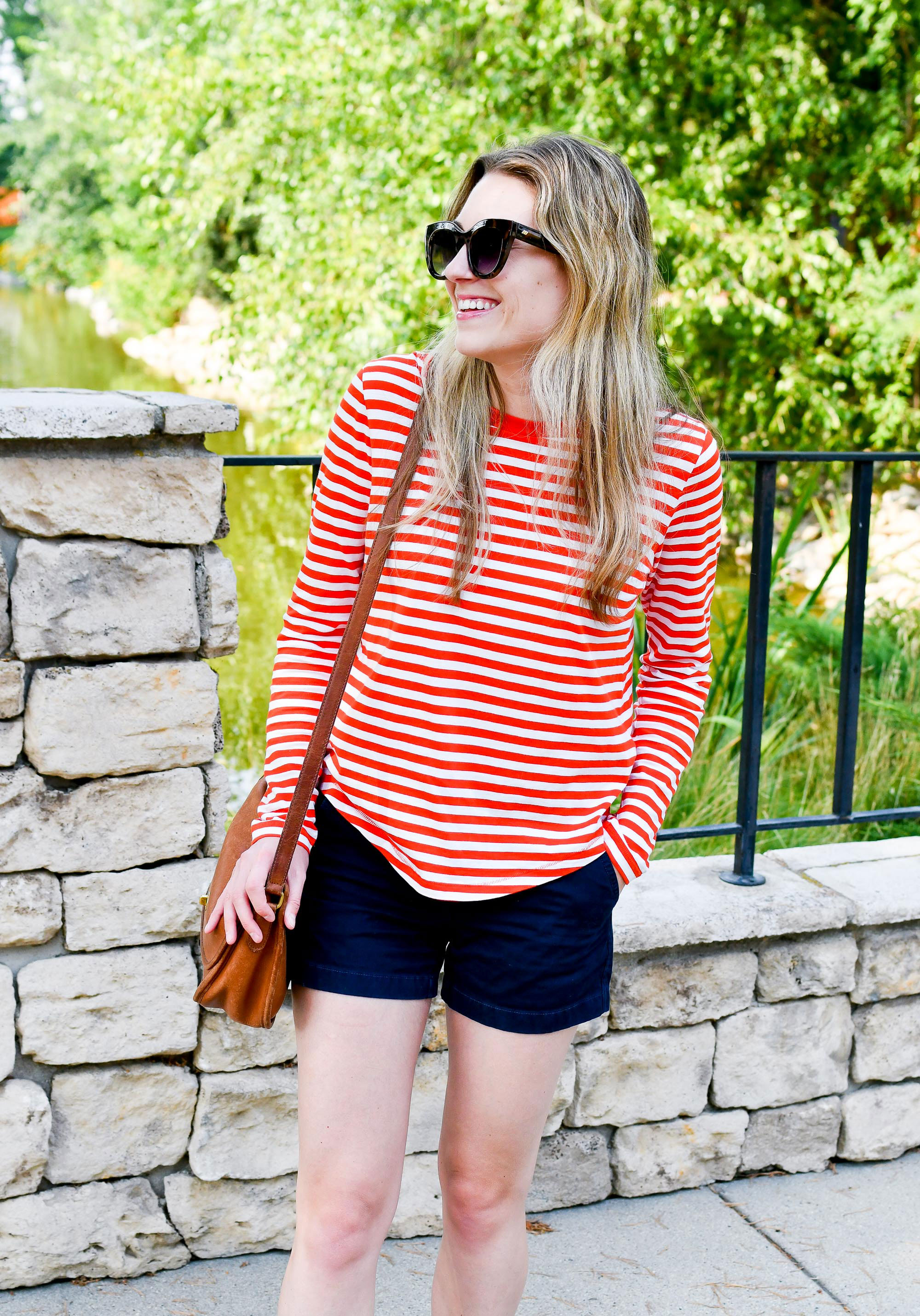 COS red striped tee outfit — Cotton Cashmere Cat Hair