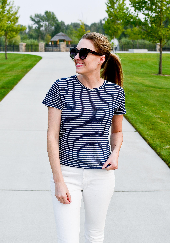 Everlane navy striped linen tee — Cotton Cashmere Cat Hair
