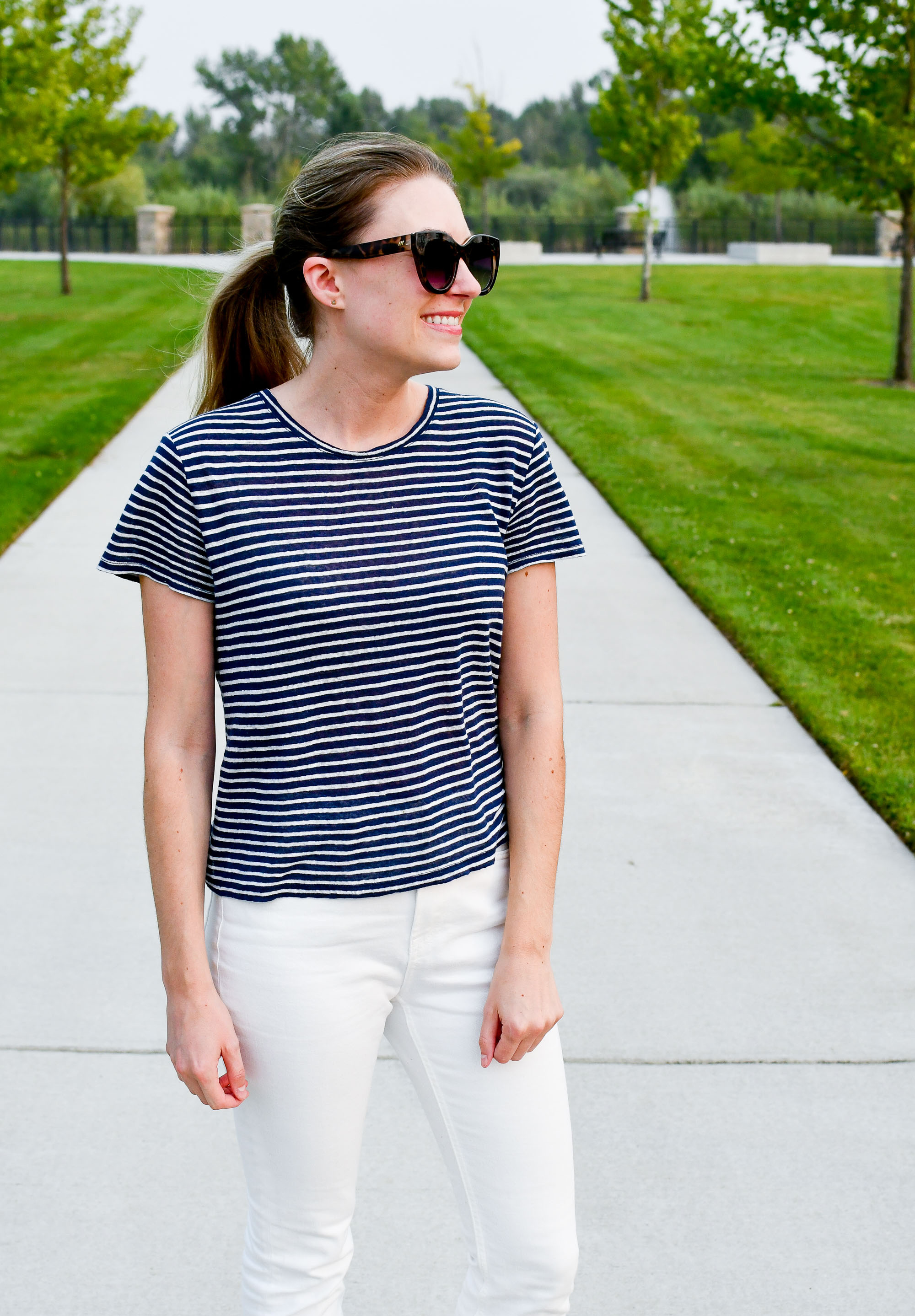 Navy striped linen tee outfit — Cotton Cashmere Cat Hair