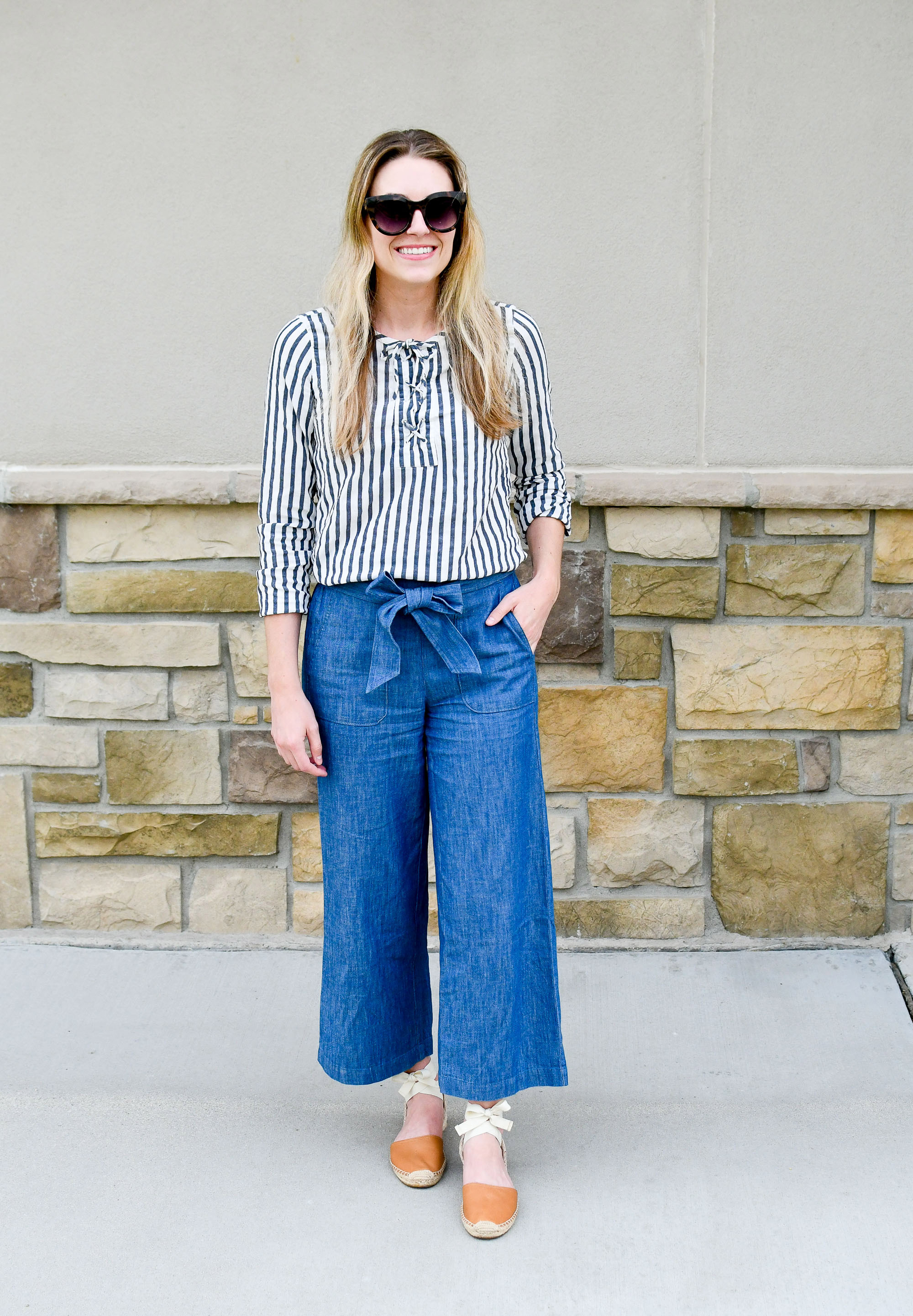 Work outfit with wide-leg chambray pants — Cotton Cashmere Cat Hair