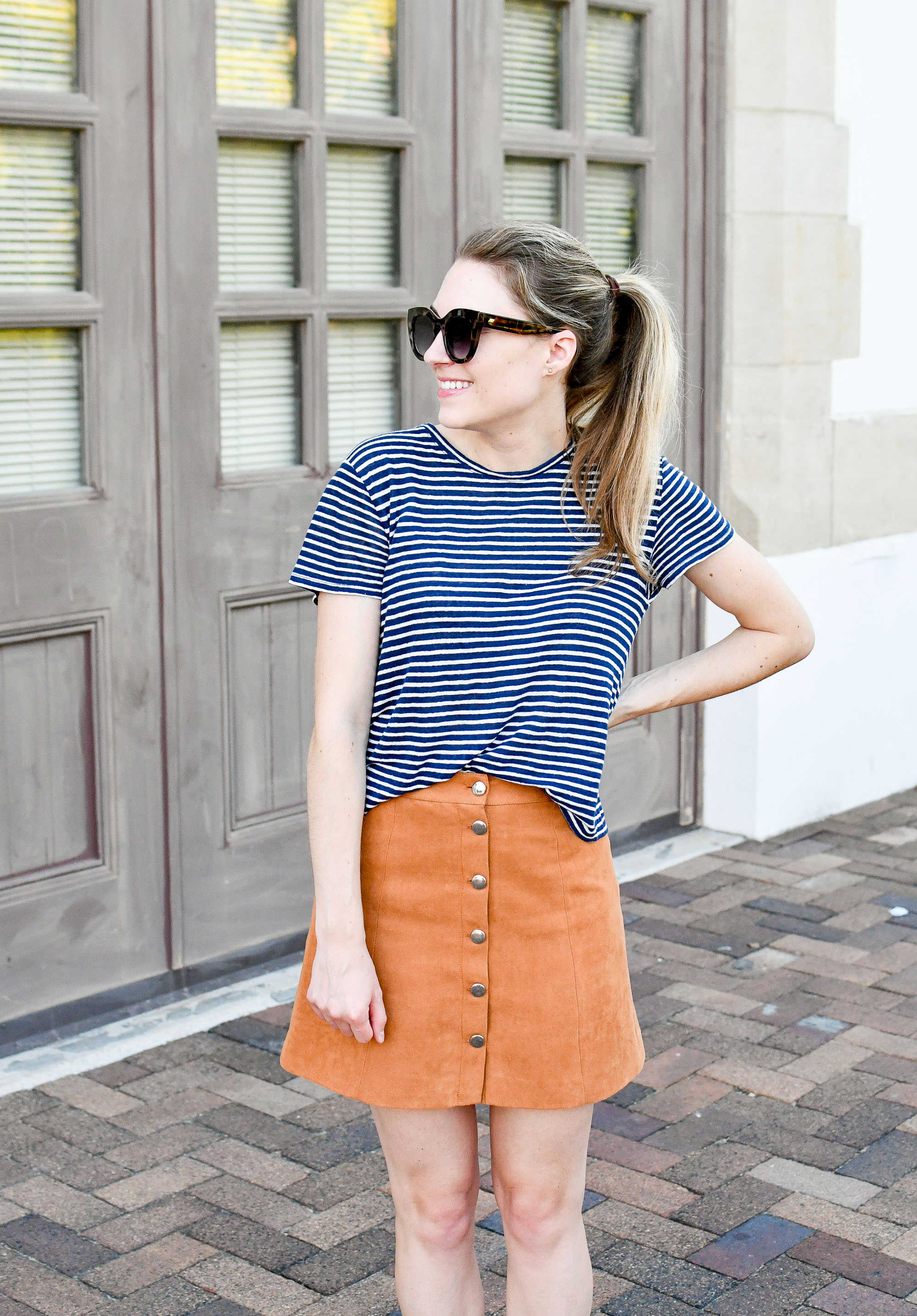 Tan button-front mini skirt late summer outfit — Cotton Cashmere Cat Hair