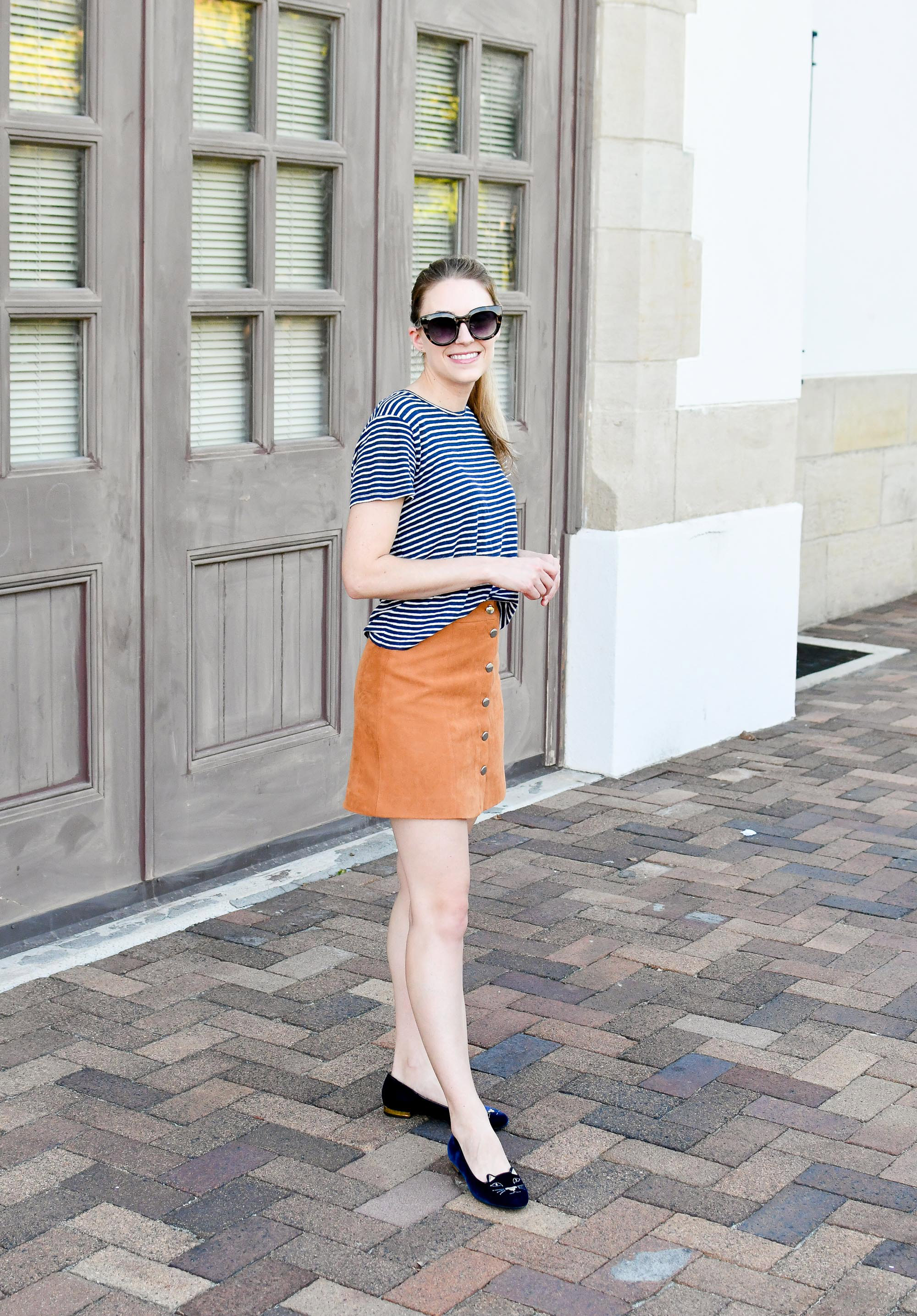 Late summer outfit with striped linen tee and tan mini skirt — Cotton Cashmere Cat Hair