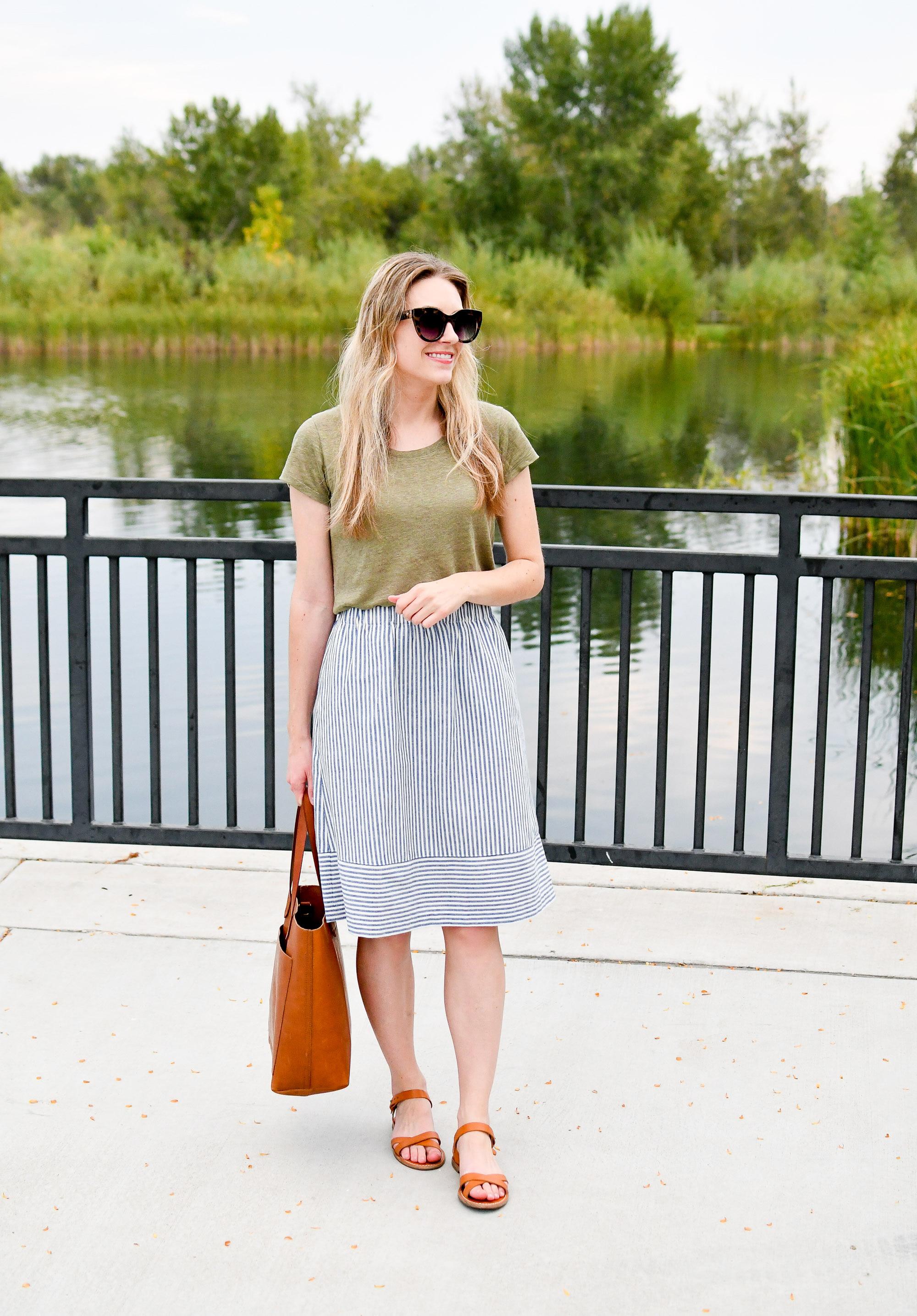 Striped linen midi skirt summer work outfit — Cotton Cashmere Cat Hair