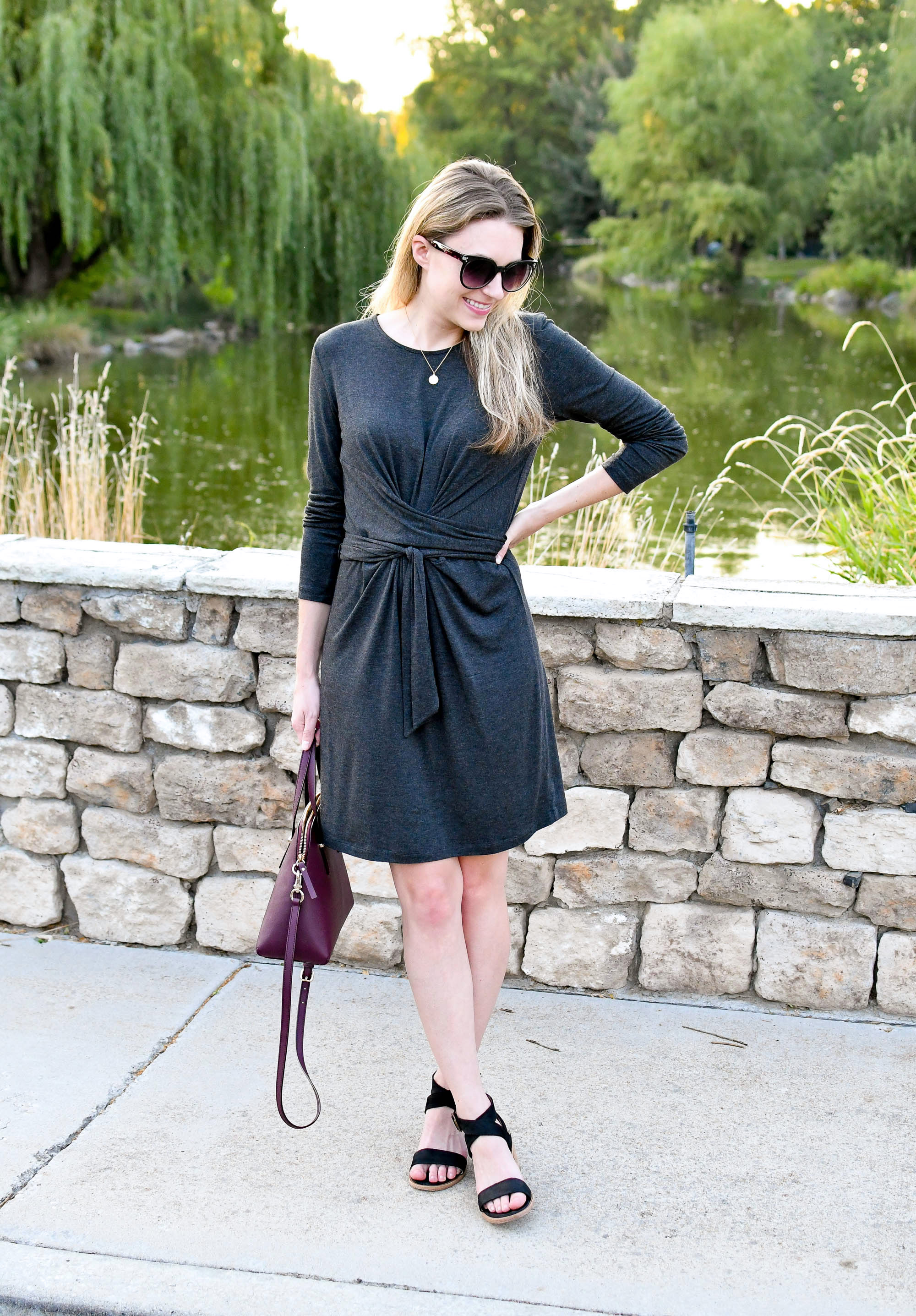Late summer outfit with tie waist dress — Cotton Cashmere Cat Hair