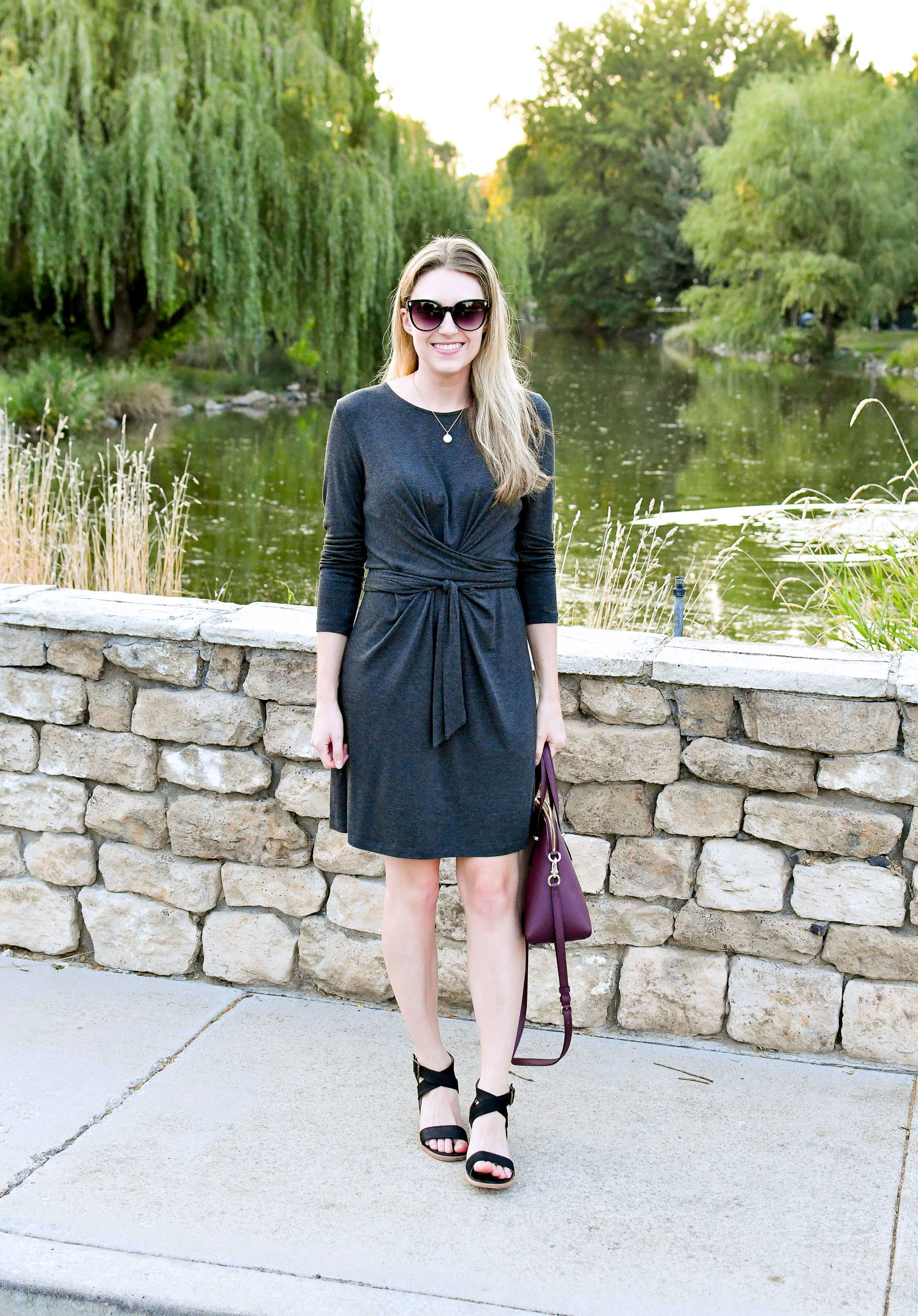 Tie waist dress outfit with black sandals and burgundy bag — Cotton Cashmere Cat Hair
