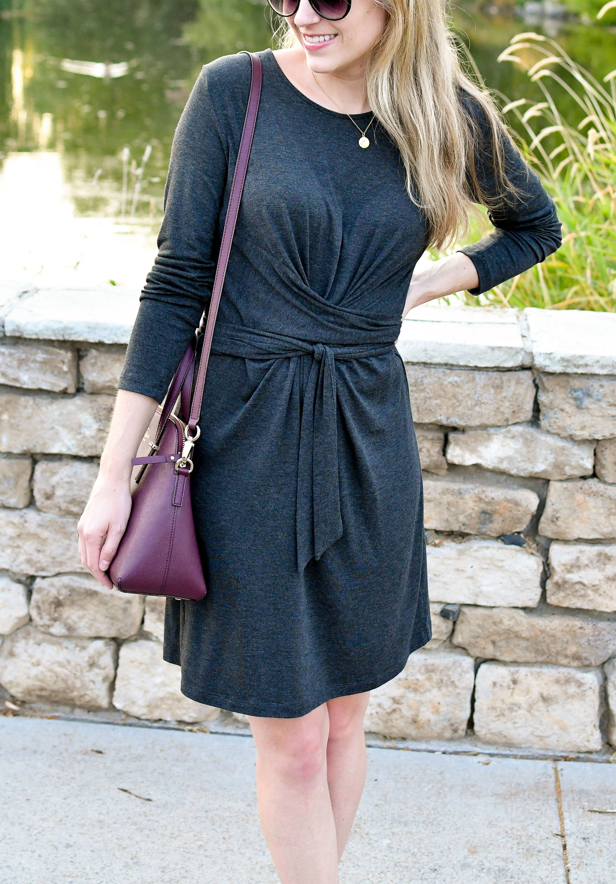 Tie waist dress summer outfit with burgundy bag — Cotton Cashmere Cat Hair