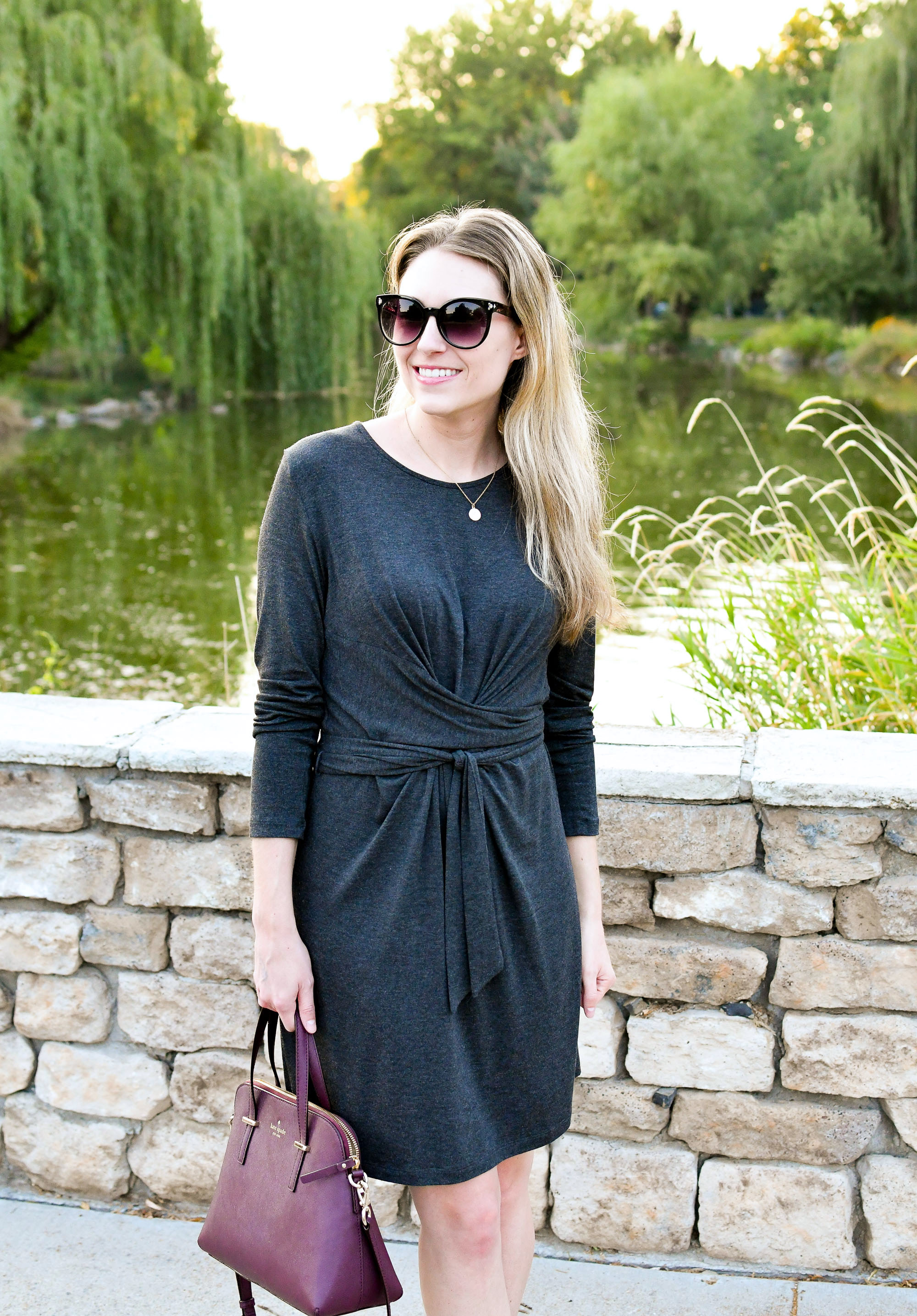 Charcoal grey tie waist dress outfit with burgundy Kate Spade satchel — Cotton Cashmere Cat Hair