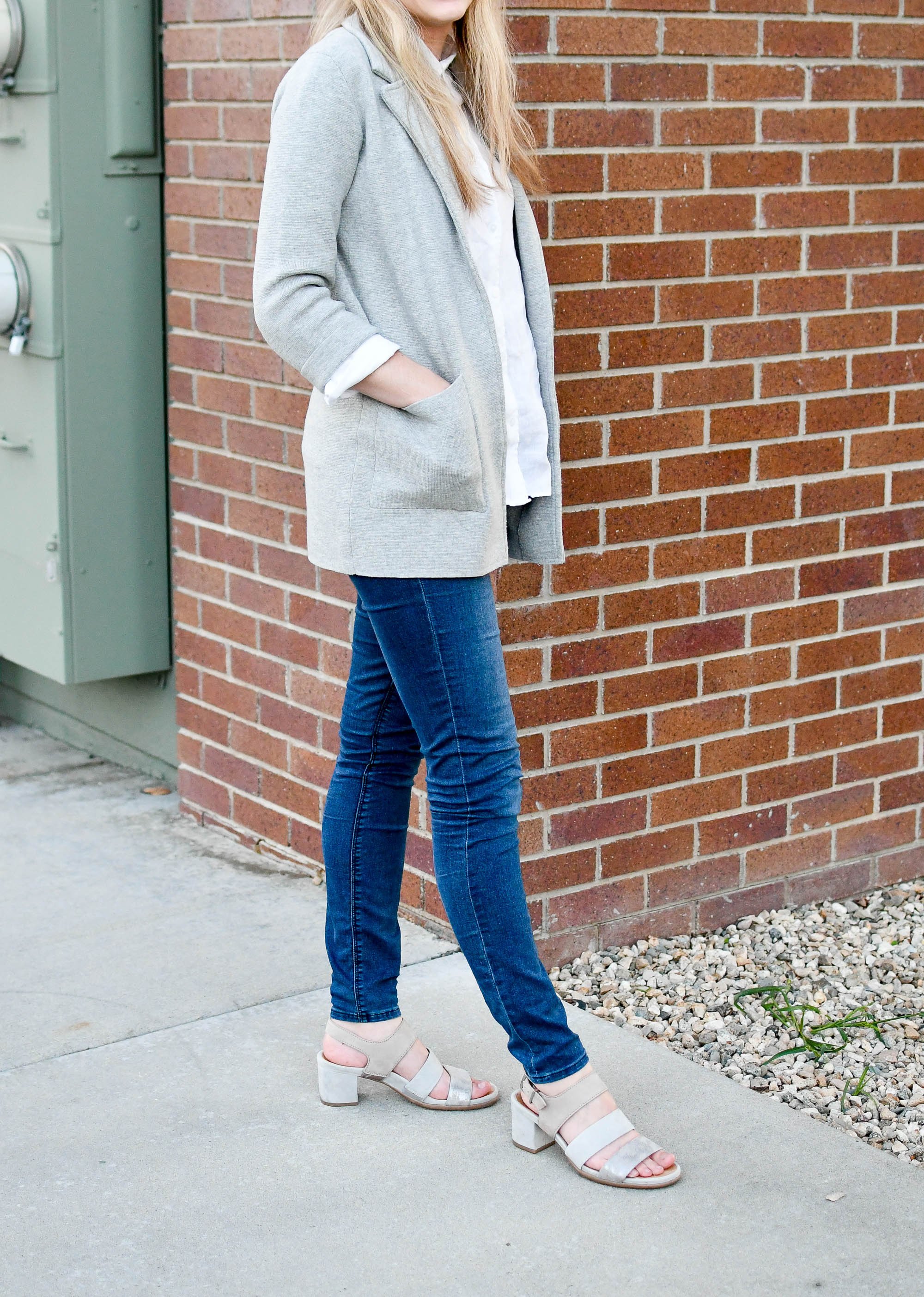 Grey sweater blazer late summer outfit — Cotton Cashmere Cat Hair