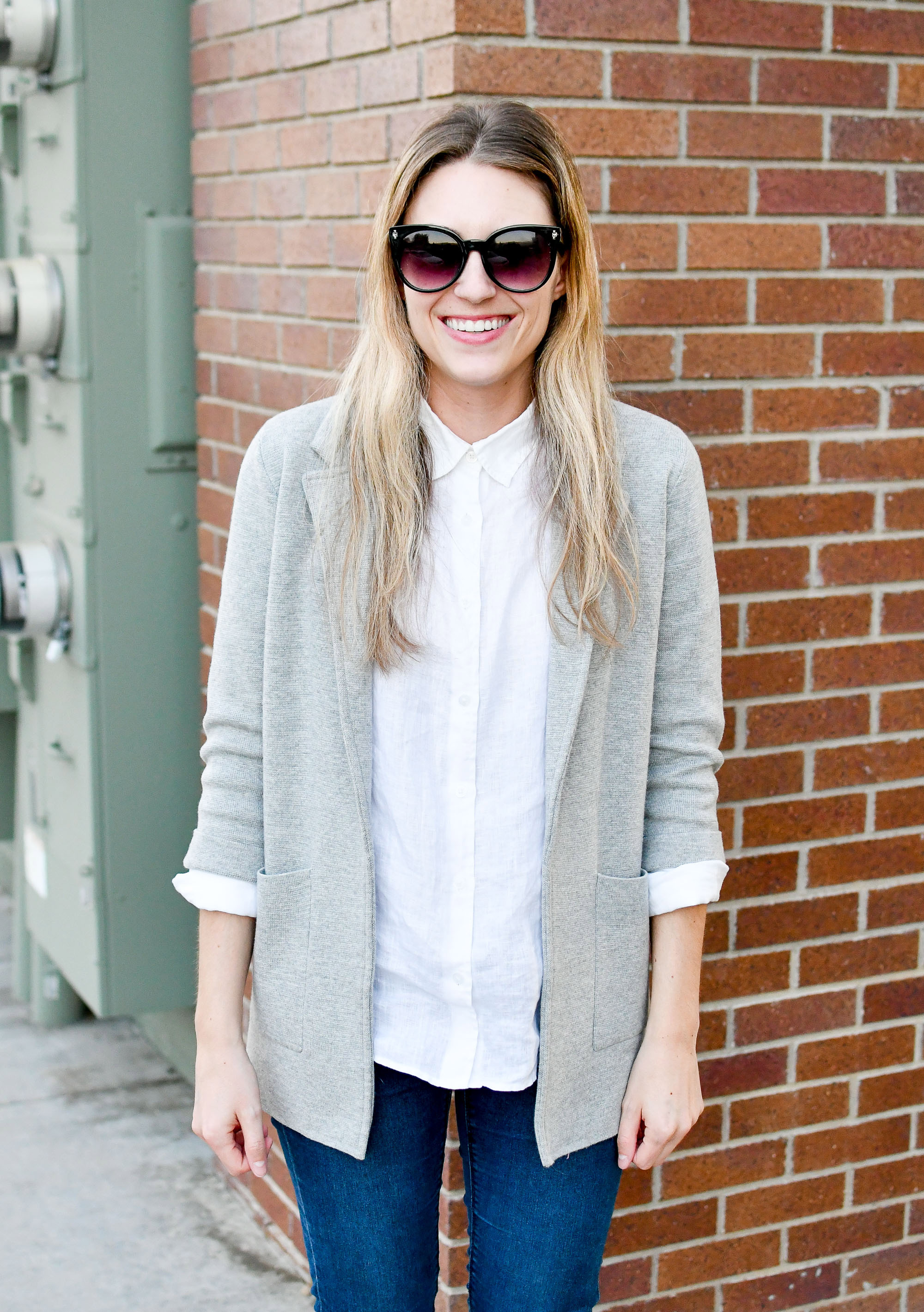 Sweater blazer work outfit with white linen shirt — Cotton Cashmere Cat Hair