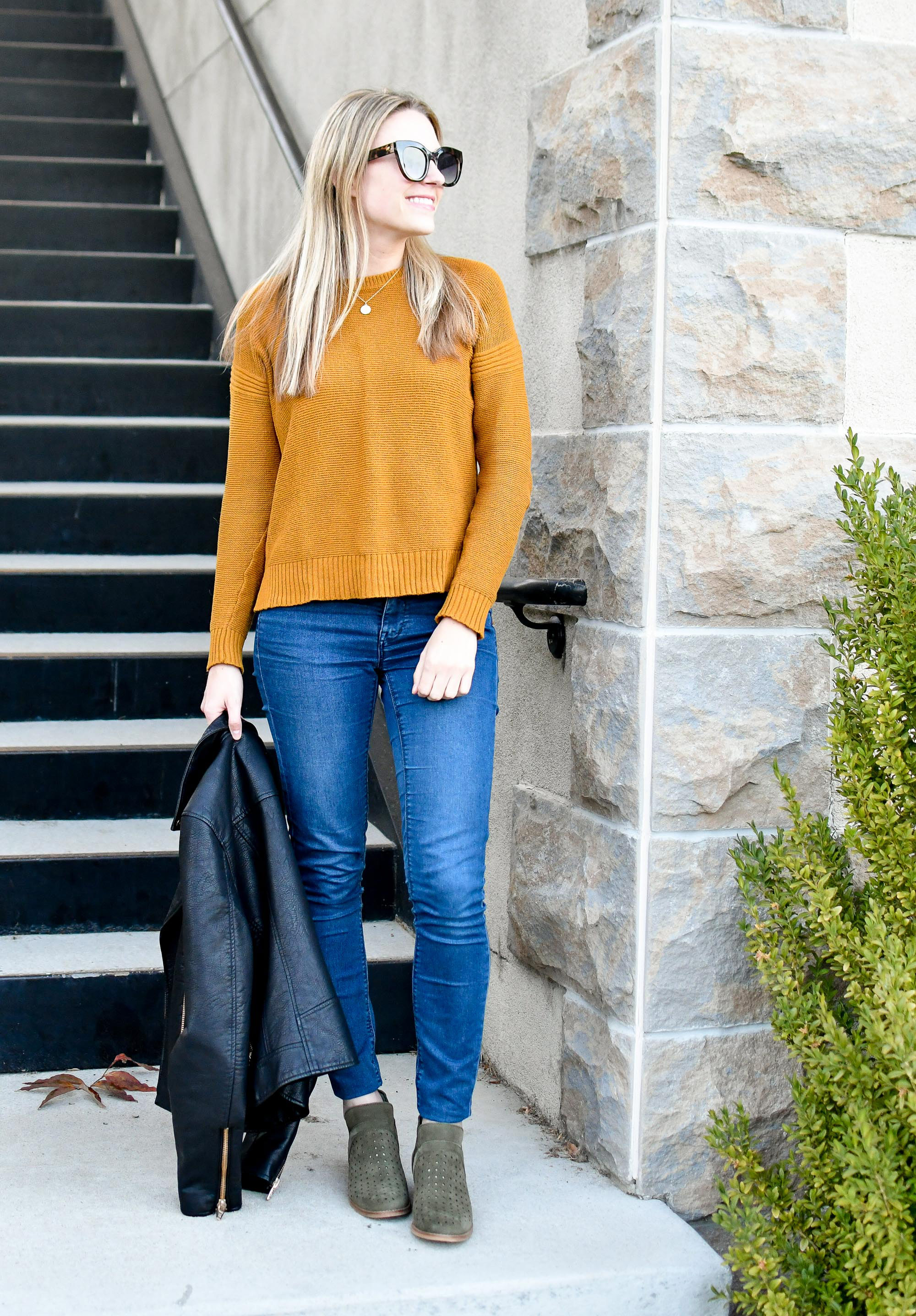 Fall outfit with pumpkin sweater and olive ankle boots — Cotton Cashmere Cat Hair