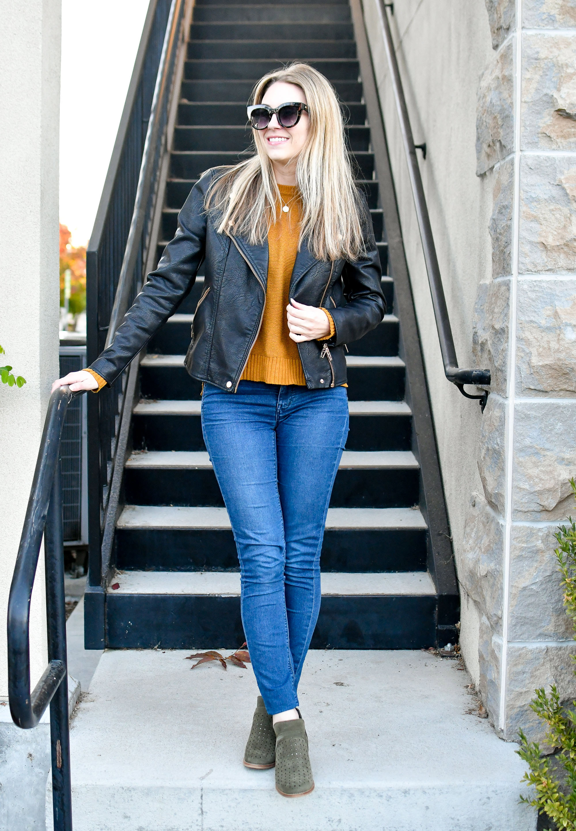 Faux leather jacket, pumpkin sweater, olive boots — Cotton Cashmere Cat Hair