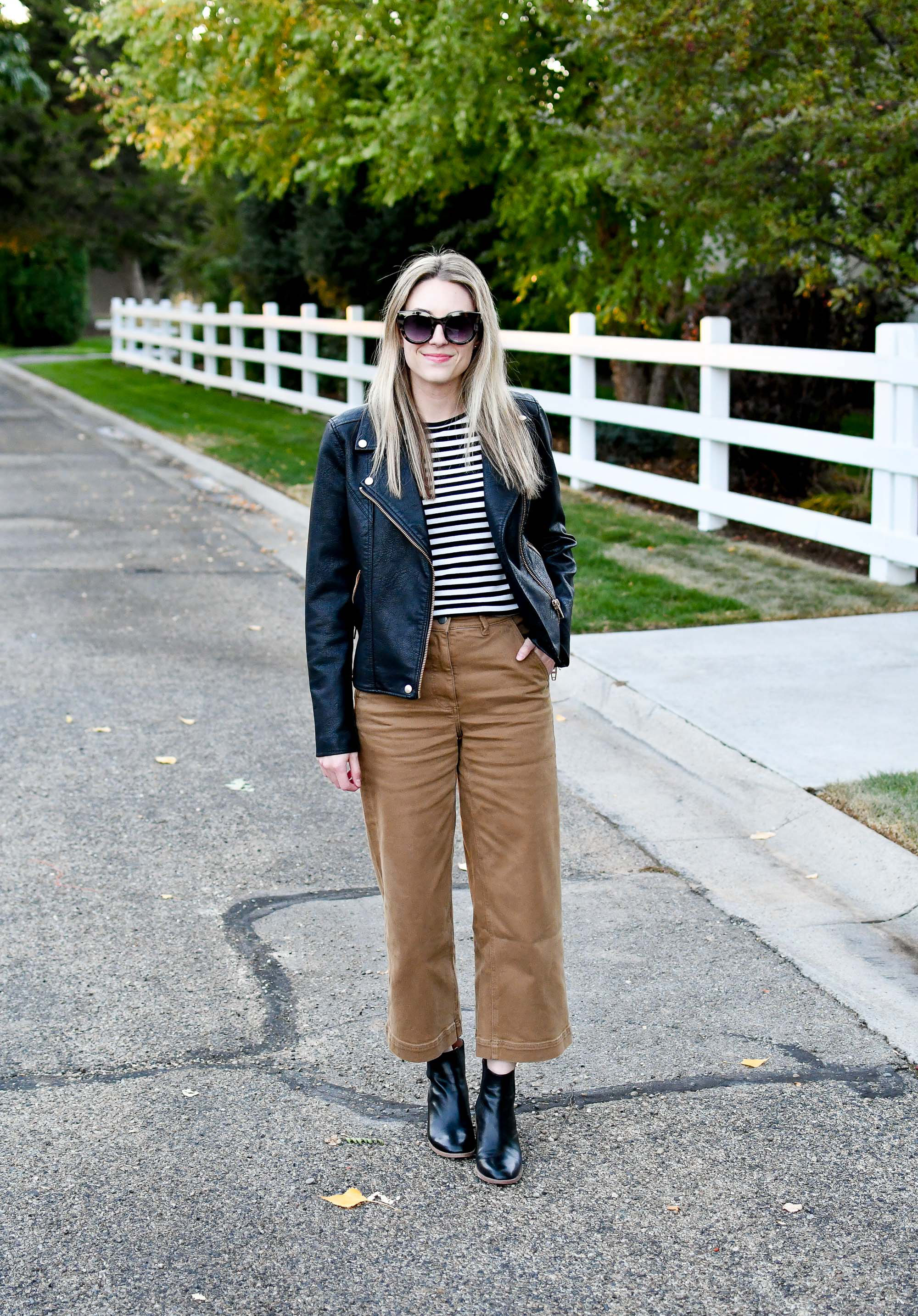 Leather jacket outfit with wide leg pants — Cotton Cashmere Cat Hair