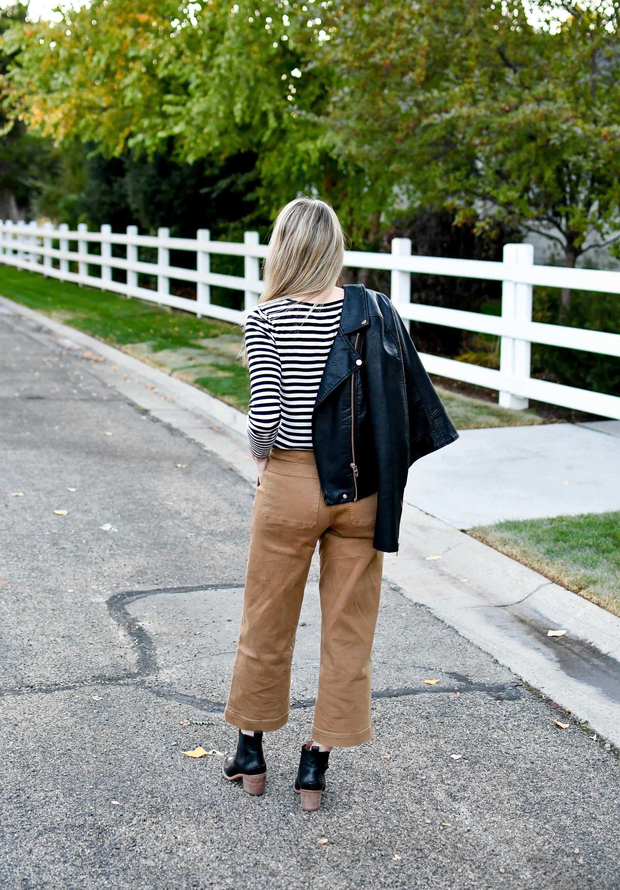 Fall outfit with leather jacket and wide leg pants — Cotton Cashmere Cat Hair