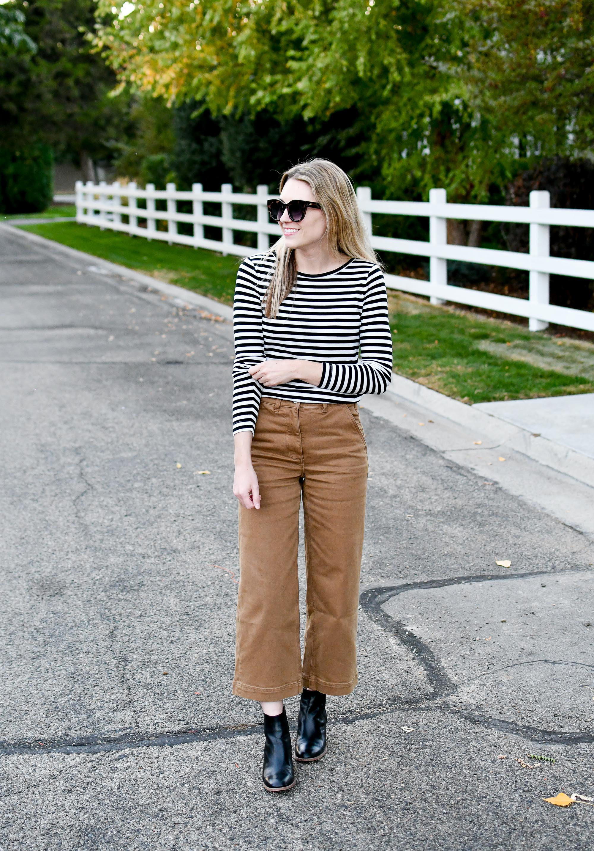 Fall outfit with Everlane wide leg cropped pants — Cotton Cashmere Cat Hair