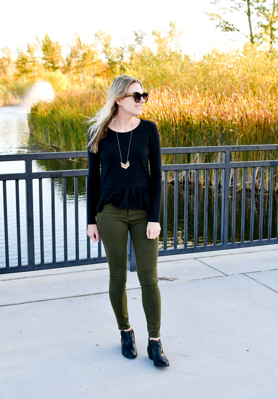 Fall concert uniform: peplum top, olive green jeans, ankle boots — Cotton Cashmere Cat Hair