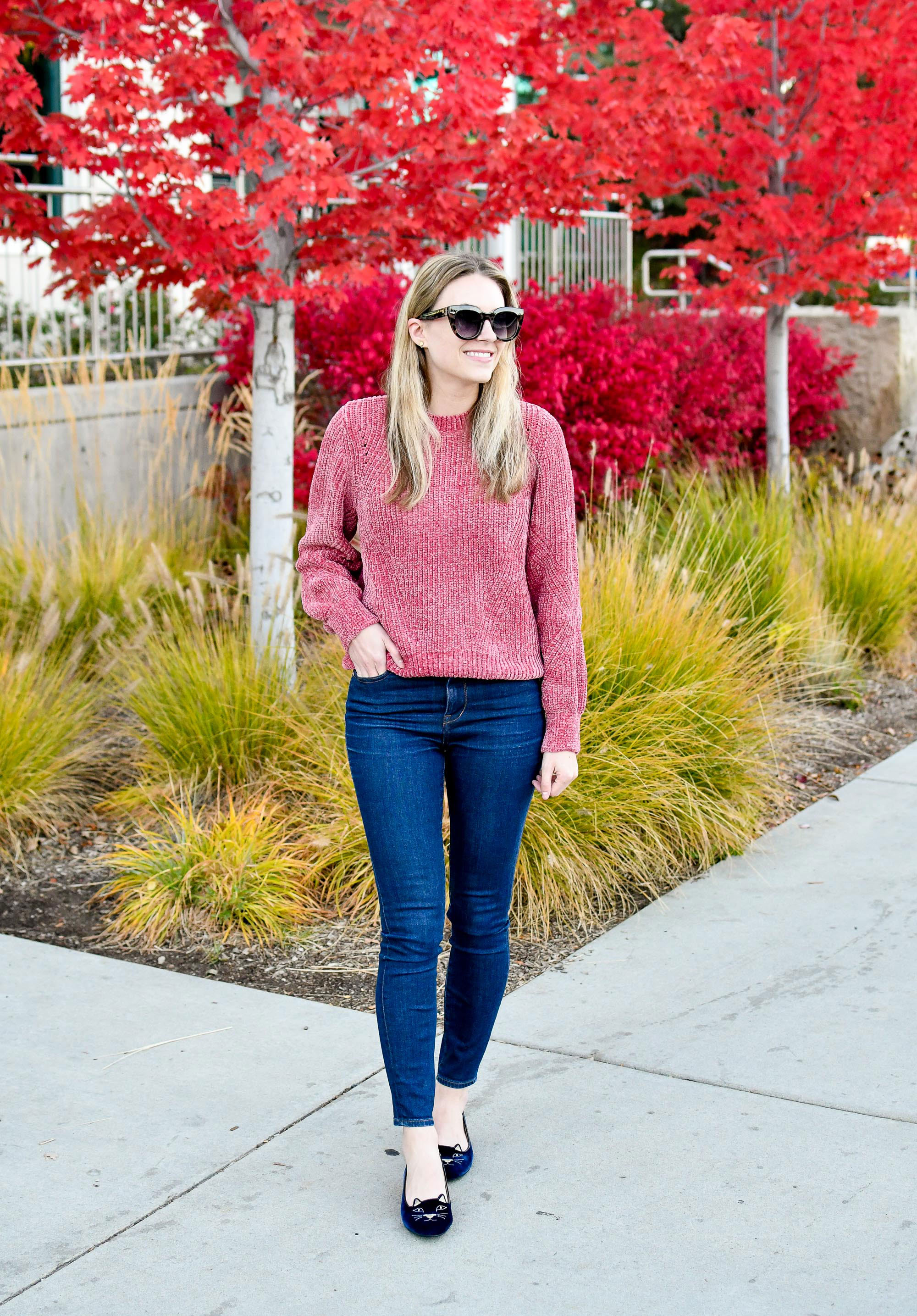 Fall outfit with navy Charlotte Olympia Kitty flats — Cotton Cashmere Cat Hair