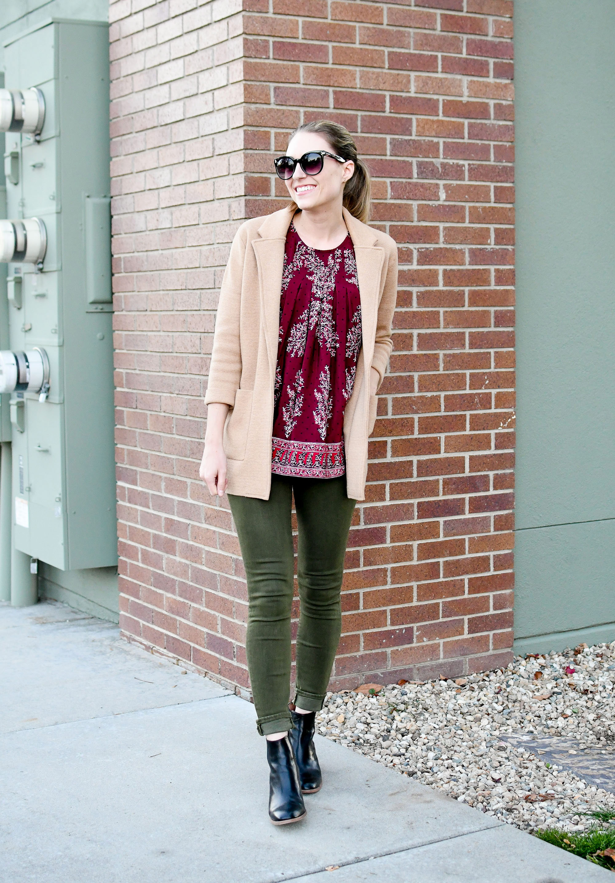 Fall outfit with burgundy top and olive jeans — Cotton Cashmere Cat Hair