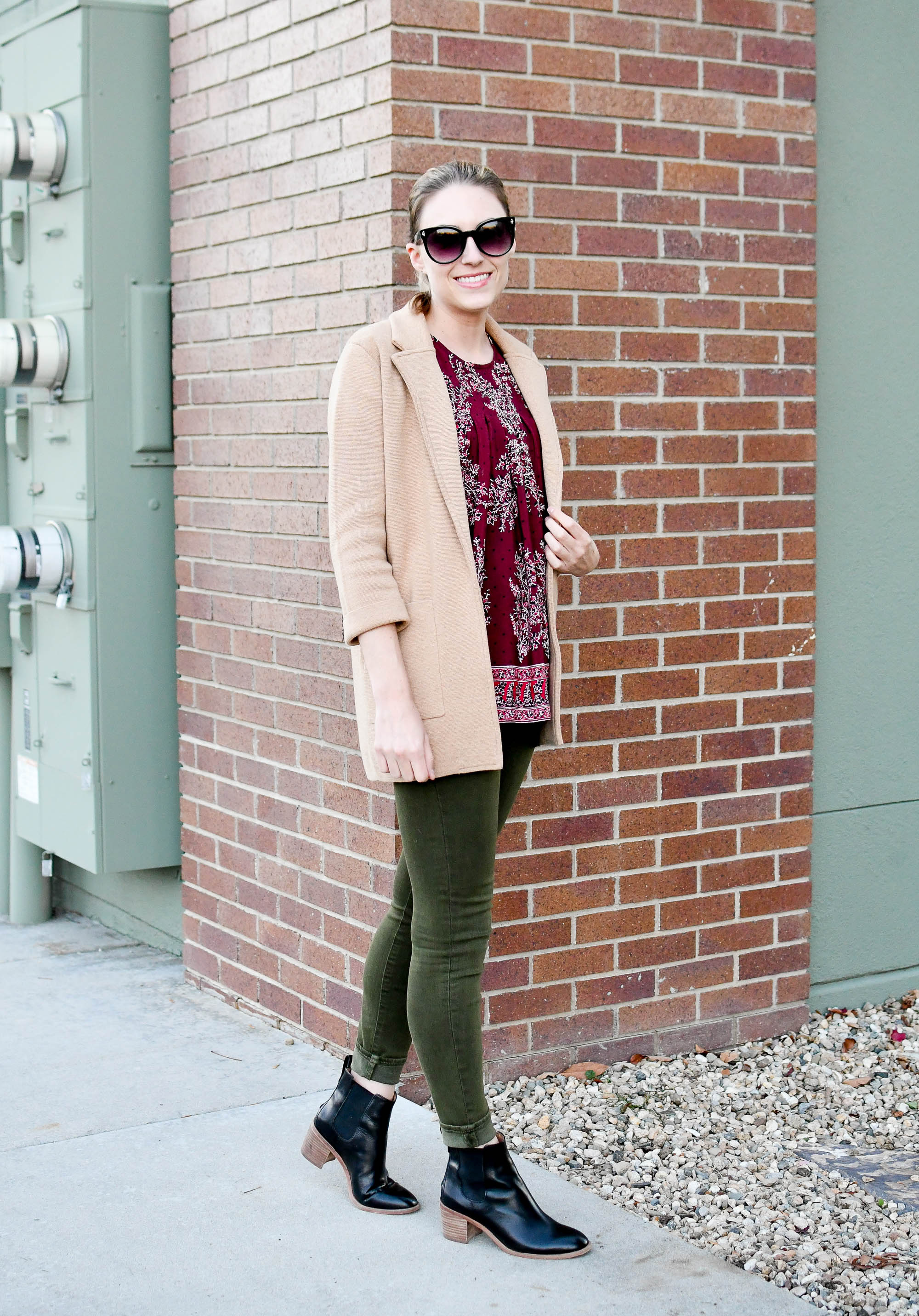 Camel sweater blazer, burgundy top, olive skinny jeans, black ankle boots — Cotton Cashmere Cat Hair