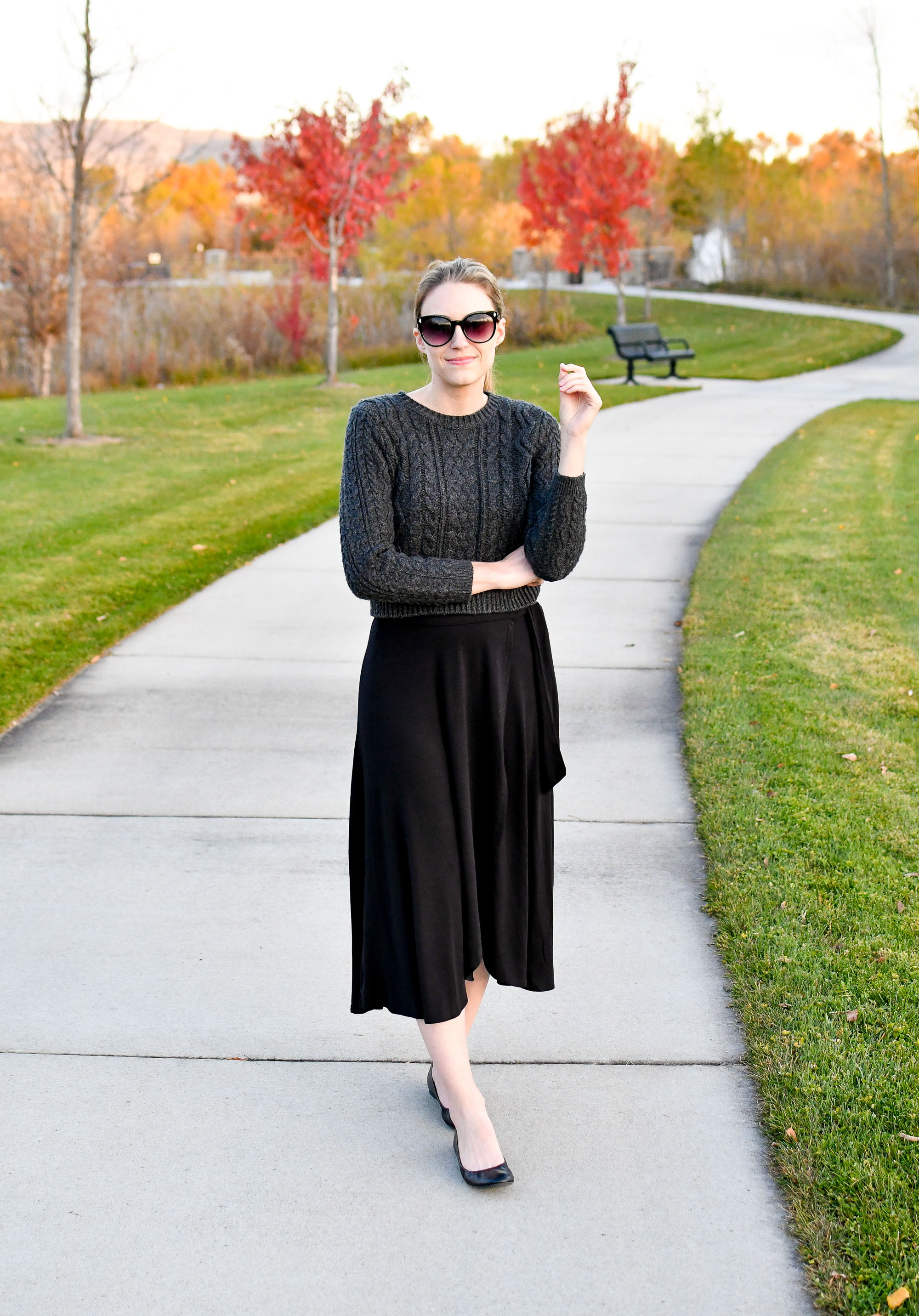 Black midi skirt fall outfit with cropped sweater — Cotton Cashmere Cat Hair