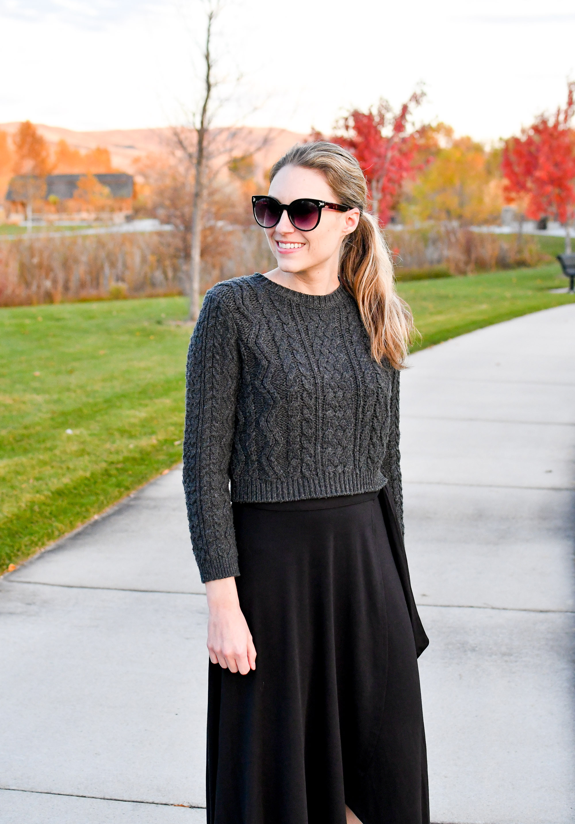 Fall outfit with cropped cable knit sweater — Cotton Cashmere Cat Hair