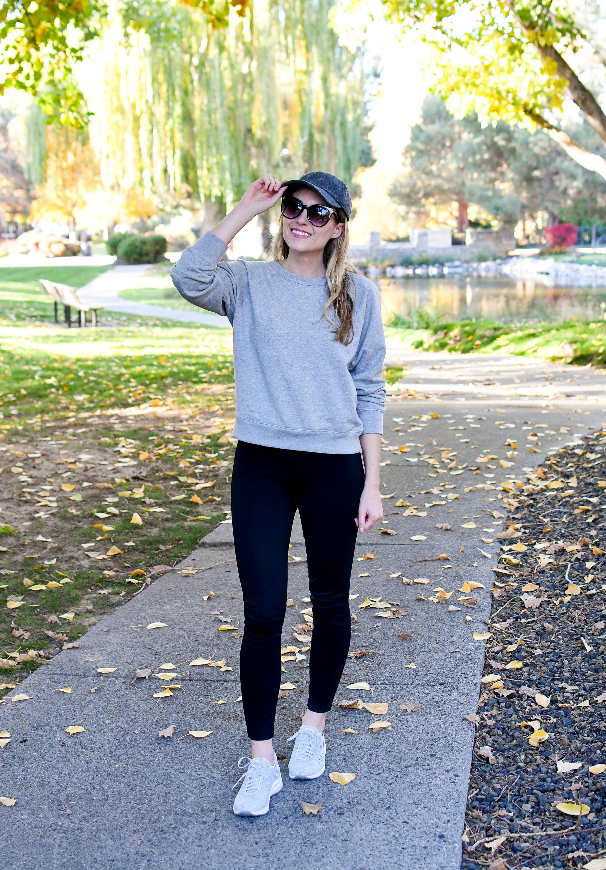 Everlane lightweight French terry fall outfit — Cotton Cashmere Cat Hair