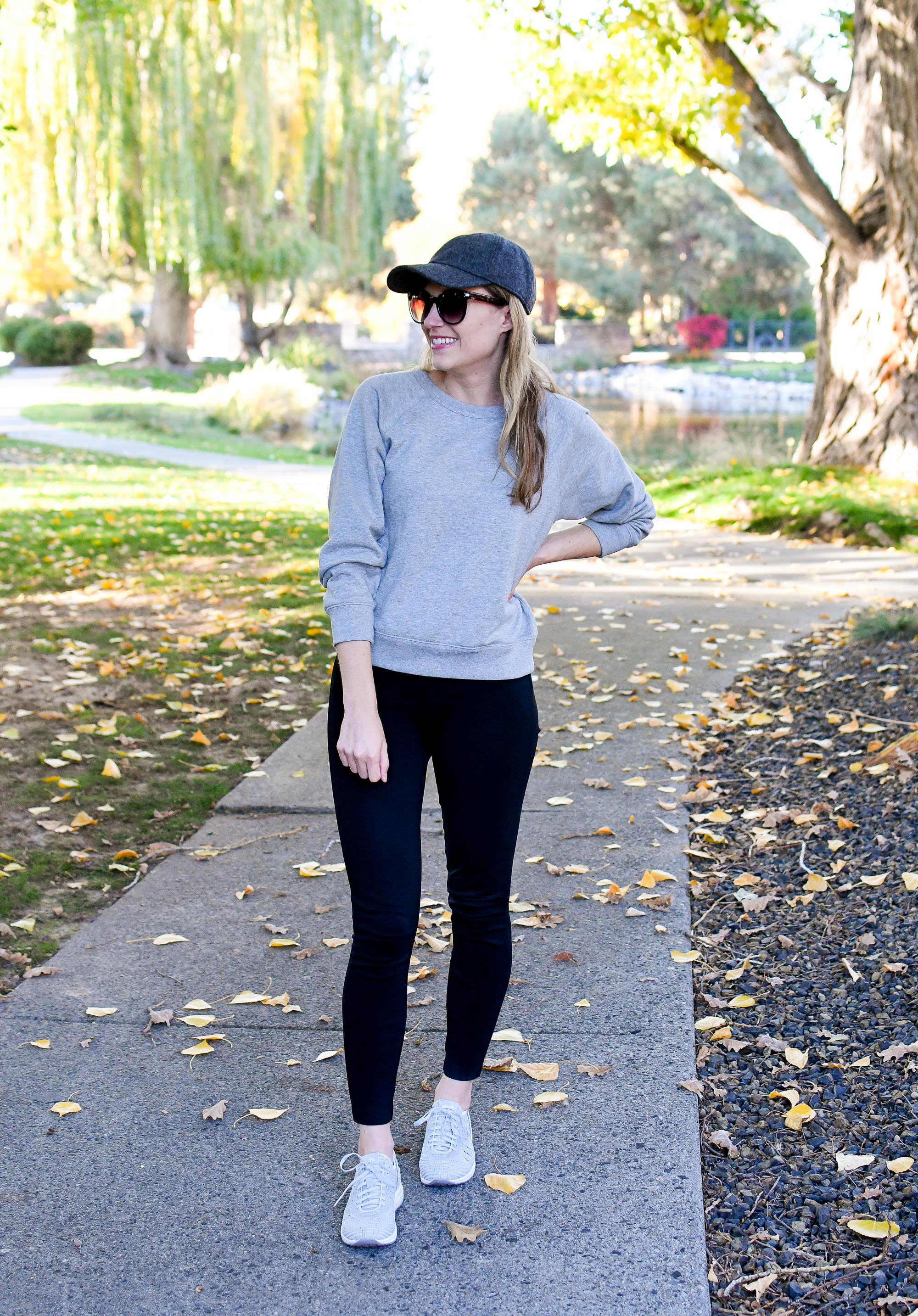 Casual fall weekend outfit with Everlane sweatshirt — Cotton Cashmere Cat Hair