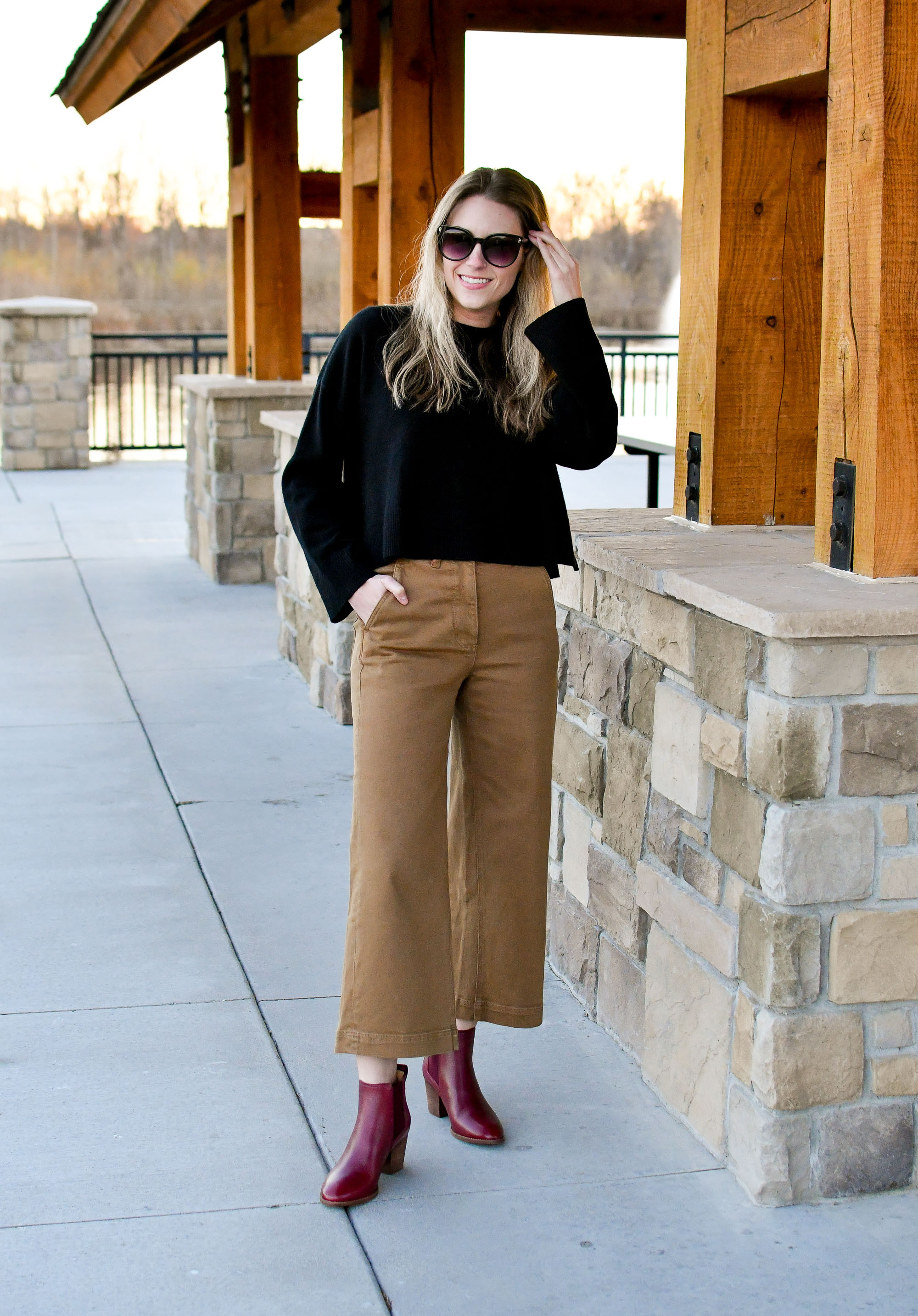 Everlane wide leg cropped pants in ochre — Cotton Cashmere Cat Hair