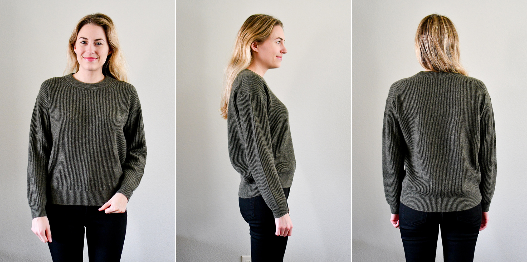 Everlane The Cashmere Rib Round Crew in loden — Cotton Cashmere Cat Hair