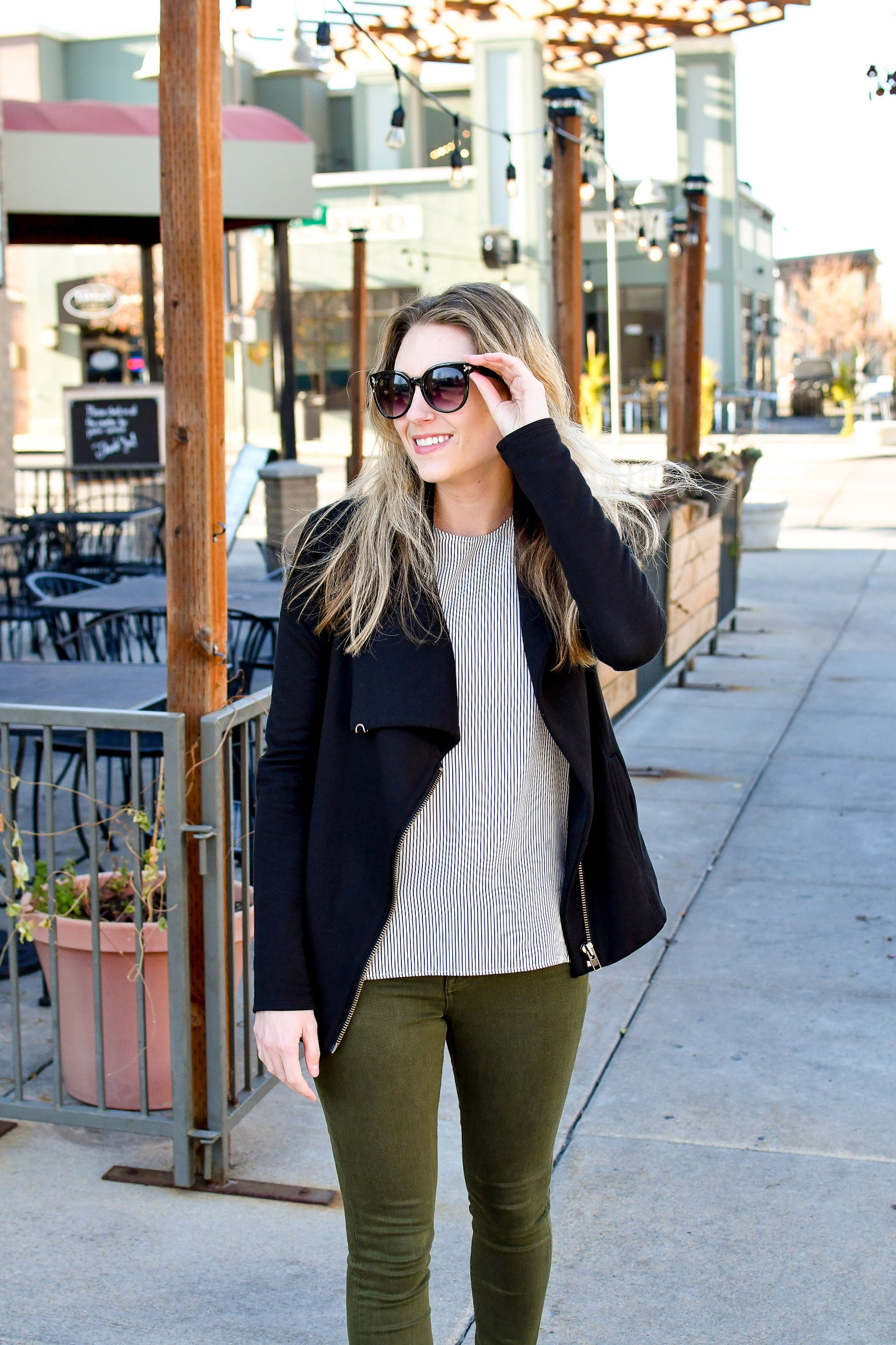 Everlane silk shell in stripes fall work outfit — Cotton Cashmere Cat Hair