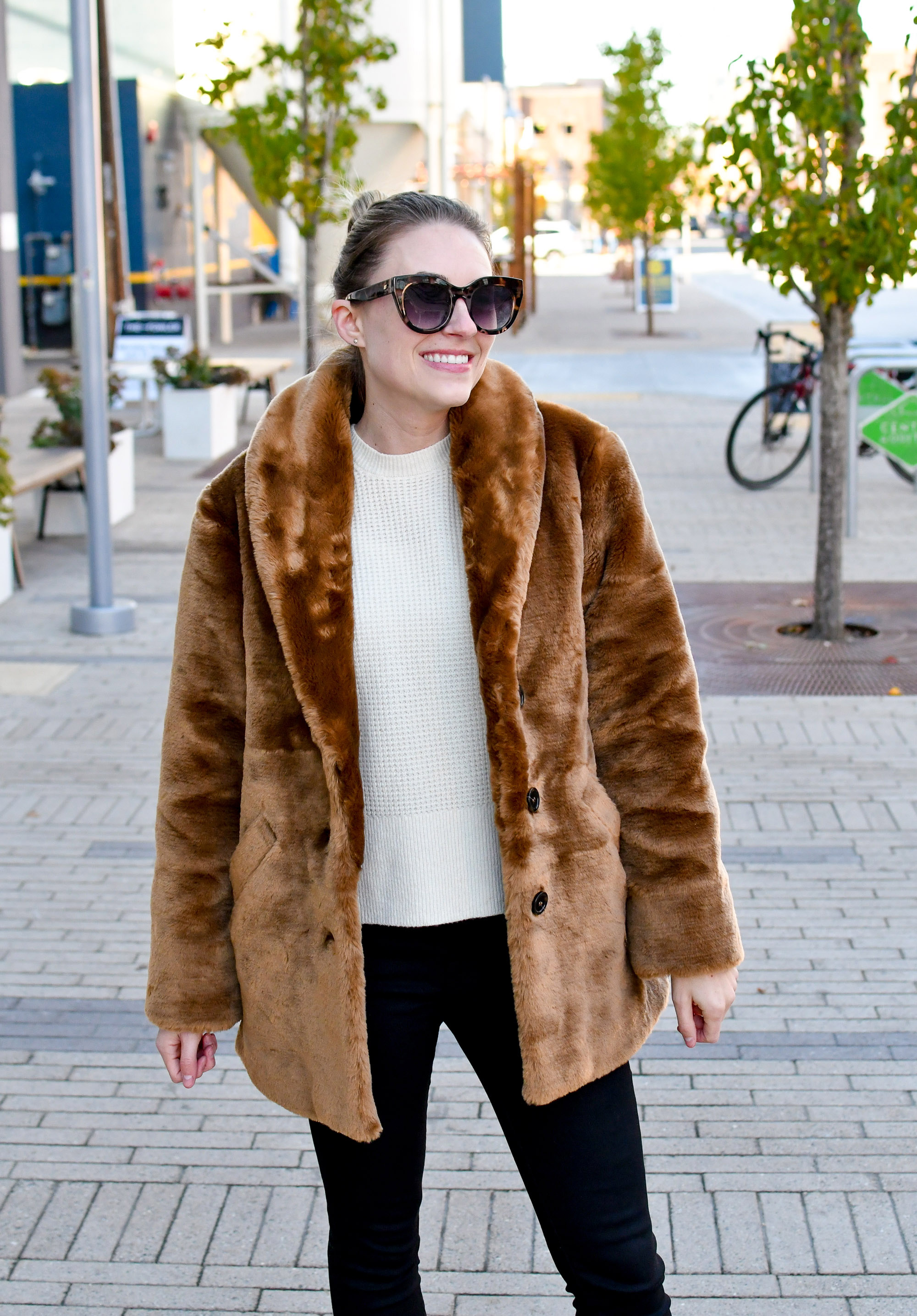 Fall outfit with faux fur coat and cashmere sweater — Cotton Cashmere Cat Hair