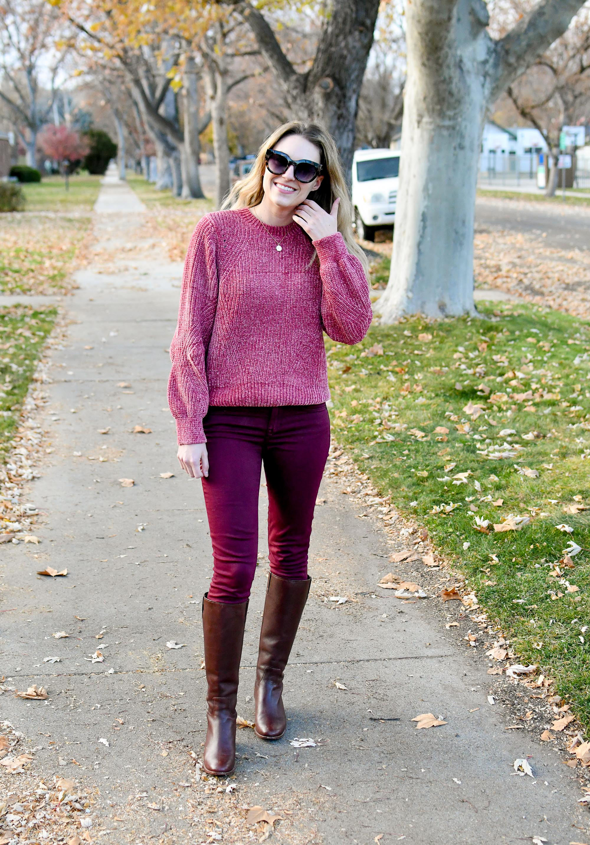 Chenille sweater, burgundy pants, brown tall boots — Cotton Cashmere Cat Hair