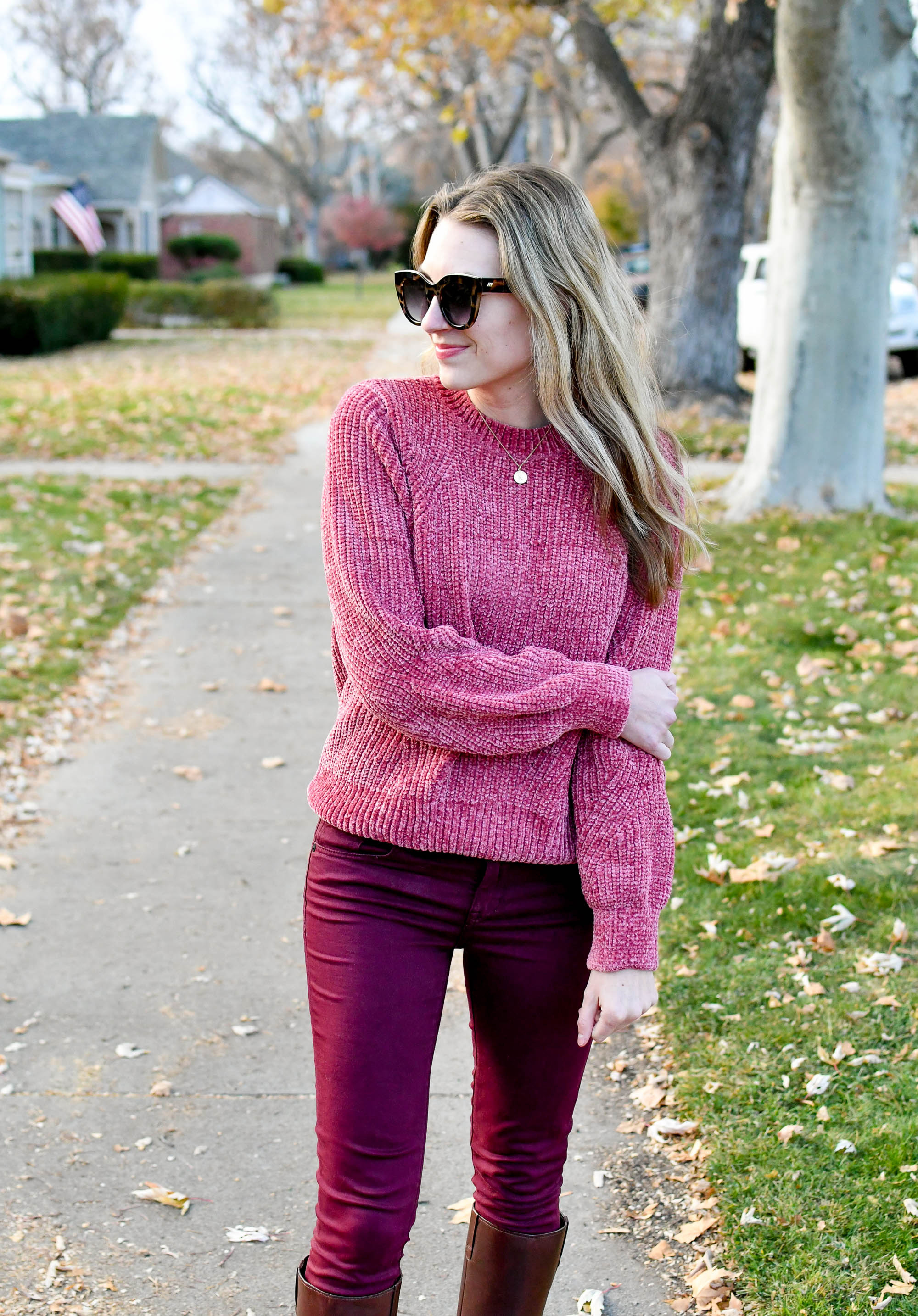 Fall outfit with pink chenille sweater — Cotton Cashmere Cat Hair