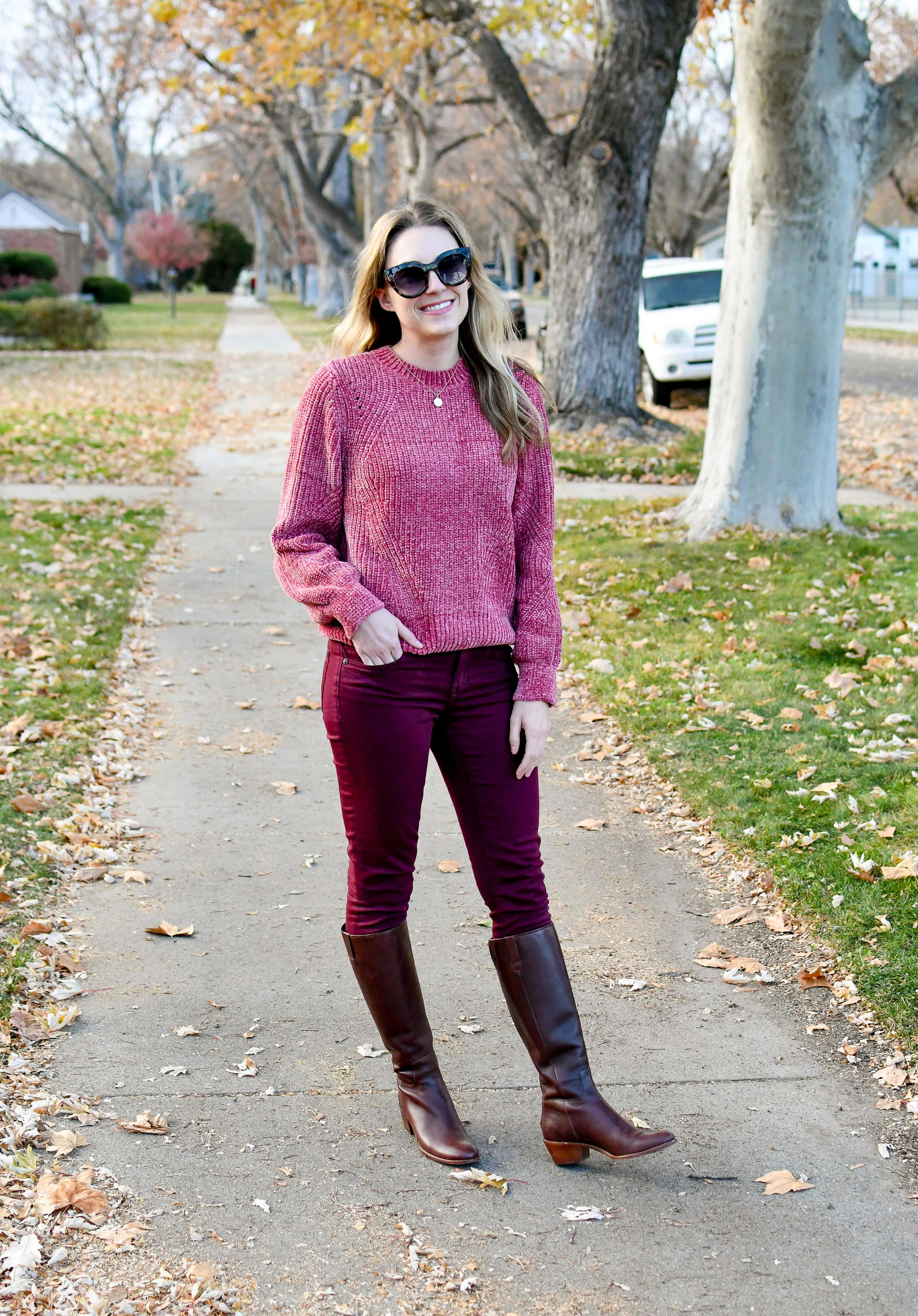 Fall casual outfit with chenille sweater and brown riding boots — Cotton Cashmere Cat Hair