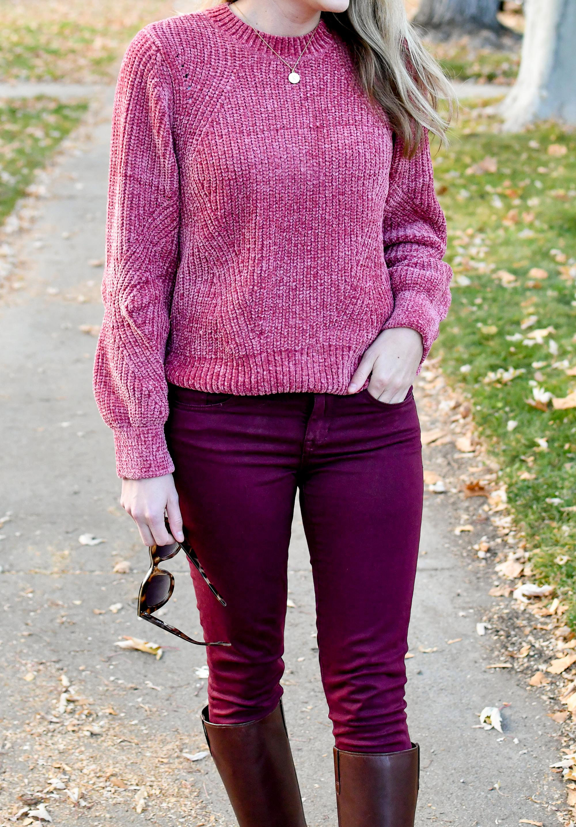 H&M chenille sweater and burgundy pants — Cotton Cashmere Cat Hair
