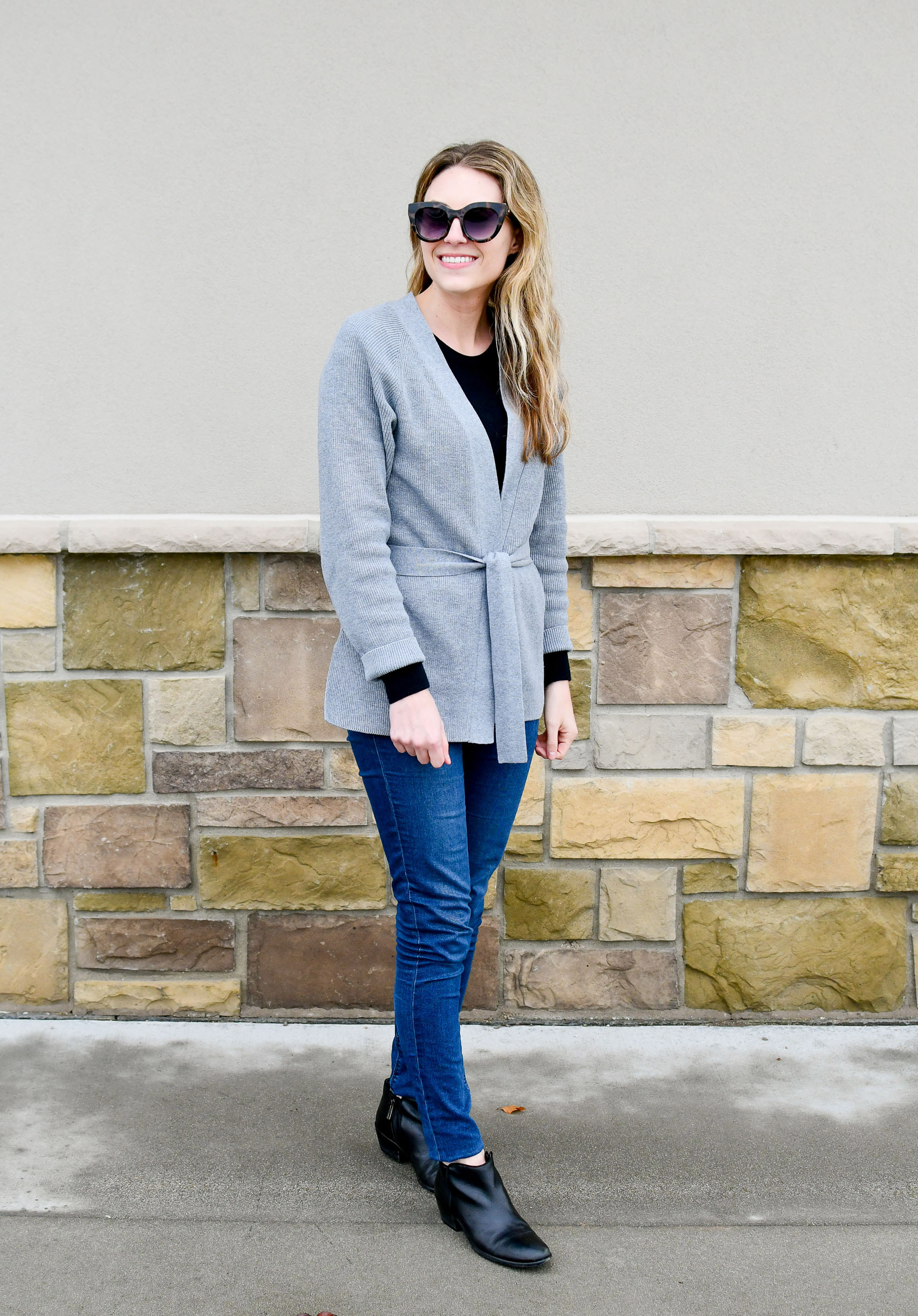 Fall outfit with grey wrap cardigan and ankle boots — Cotton Cashmere Cat Hair